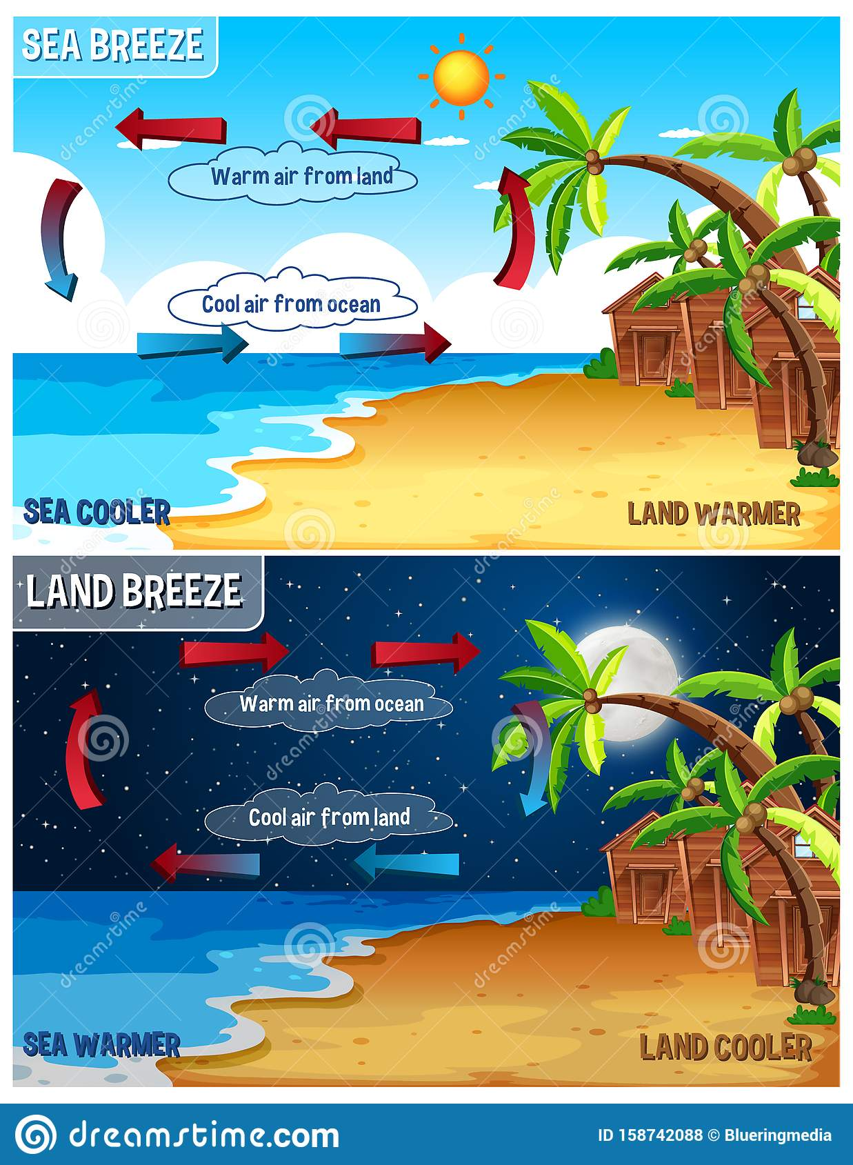 Science Poster Design For Sea And Land Breeze Stock Vector