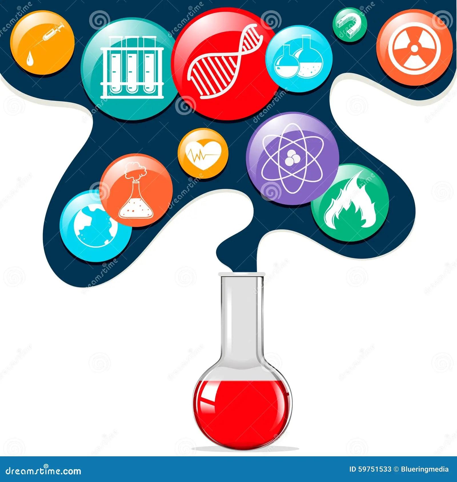 Science Symbols And Glass Beaker Stock Vector