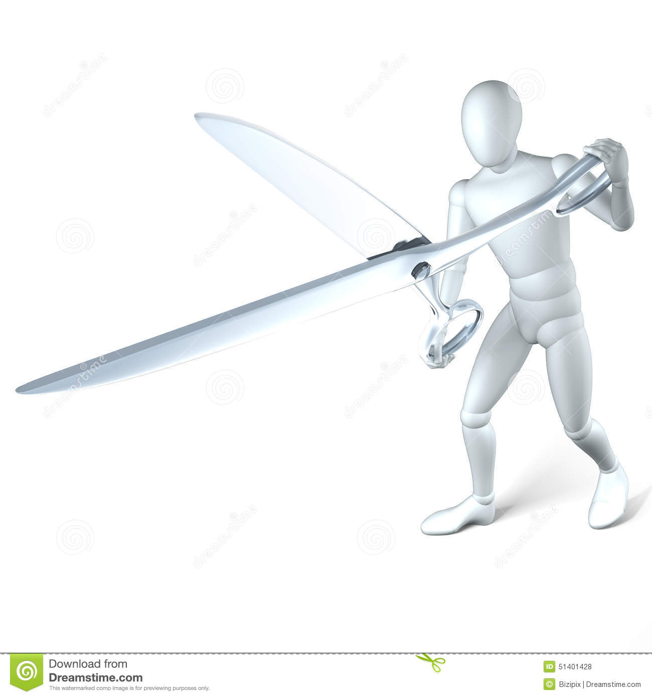 Man With Scissors Snipping Stock Photo