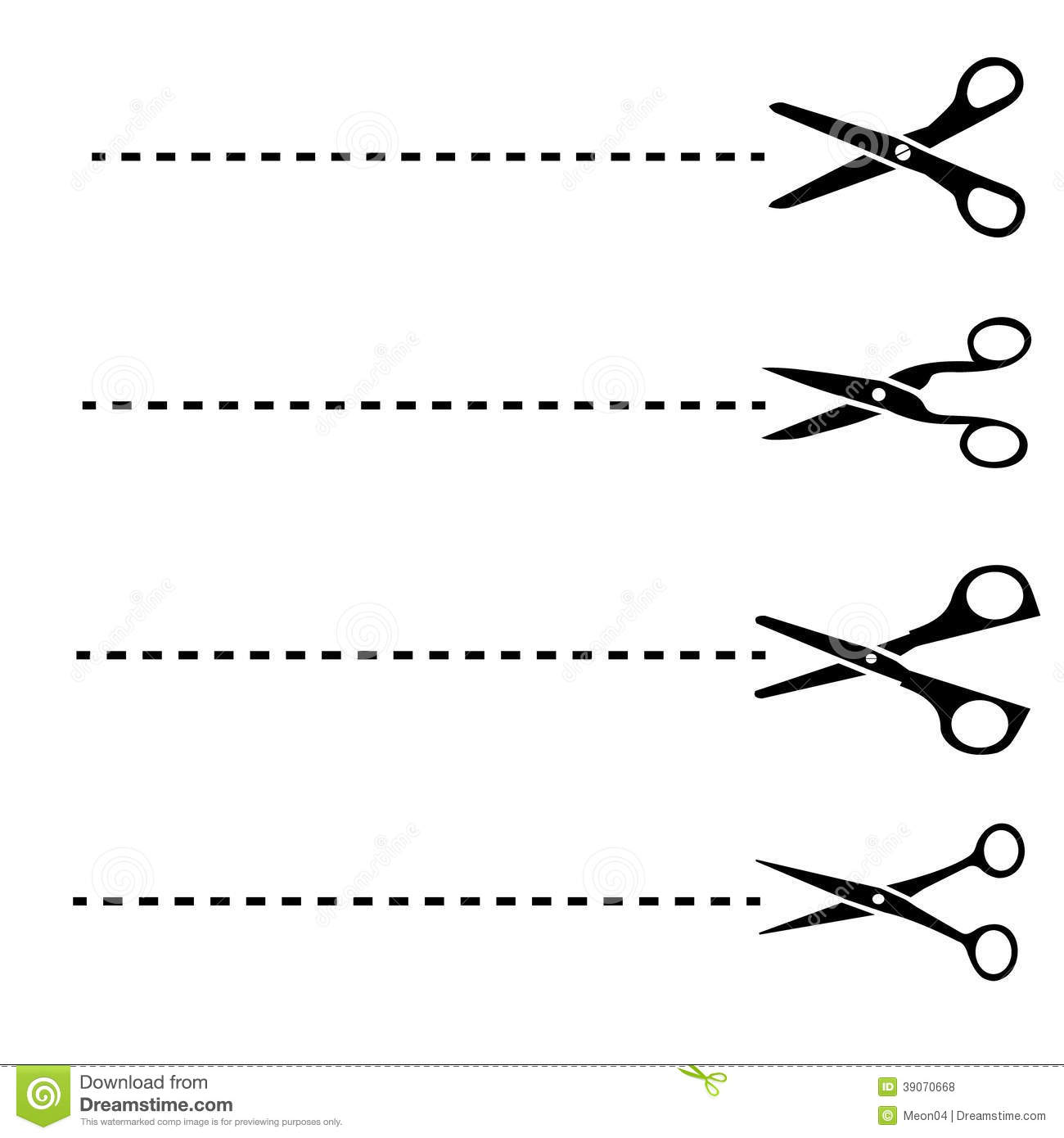 Scissors With Cut Lines Stock Vector
