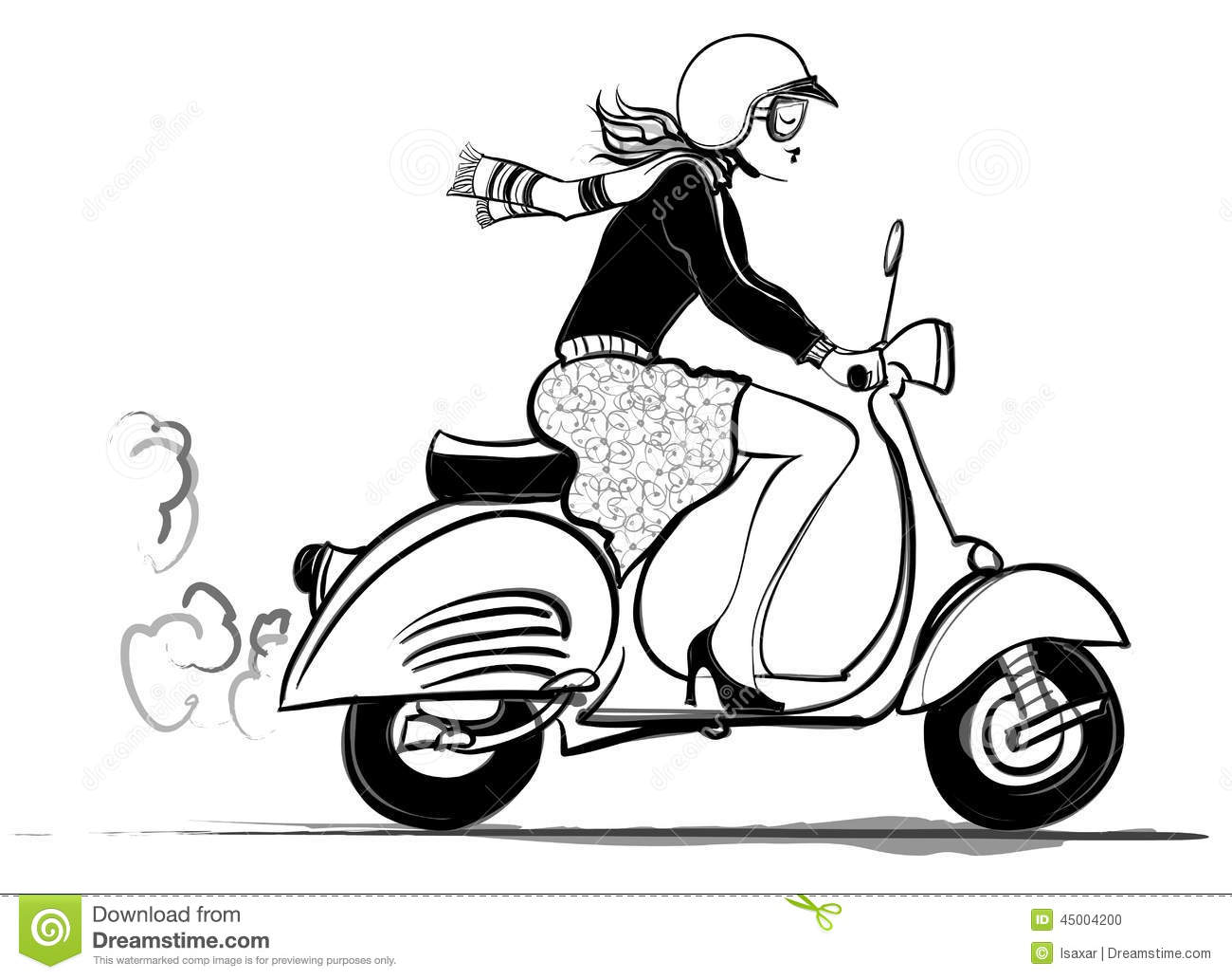 Scooter D Equitation De Femme Illustration De Vecteur