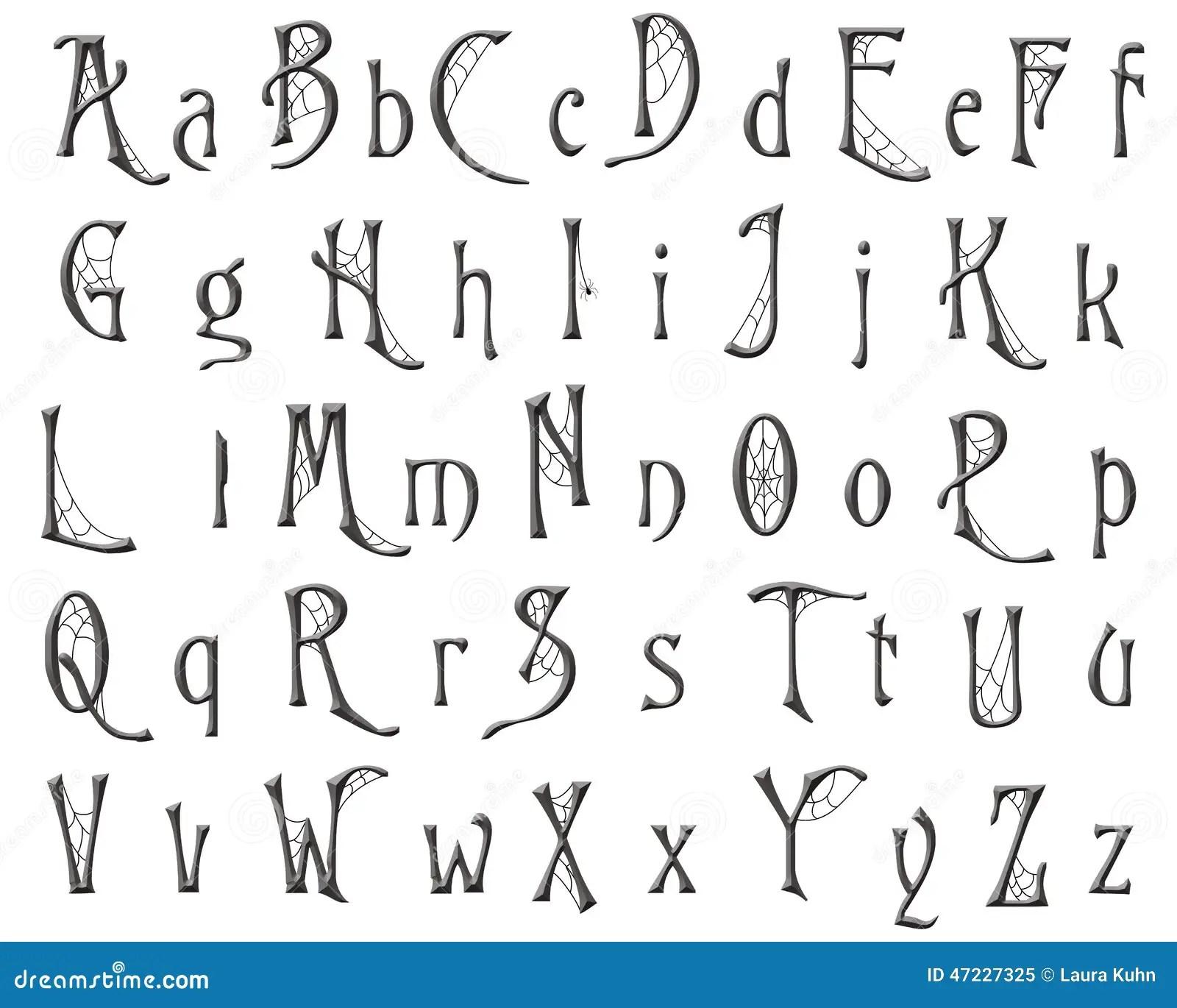 Scrapbooking Alphabet Cobweb Halloween Design Royalty Free