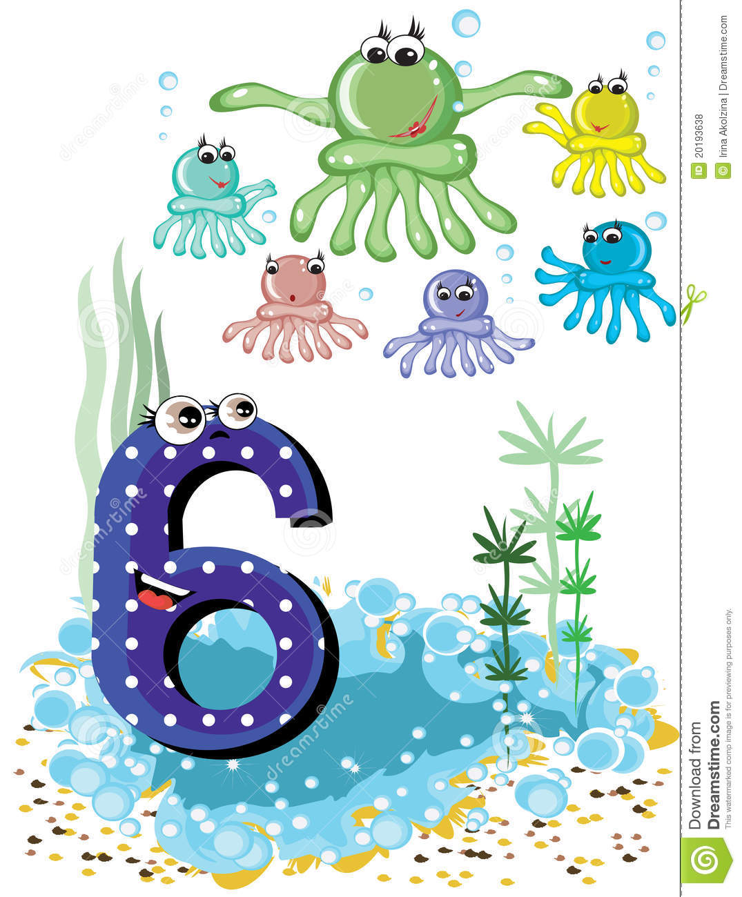 Sea Animals And Numbers Series 6 Octopuses Stock Vector