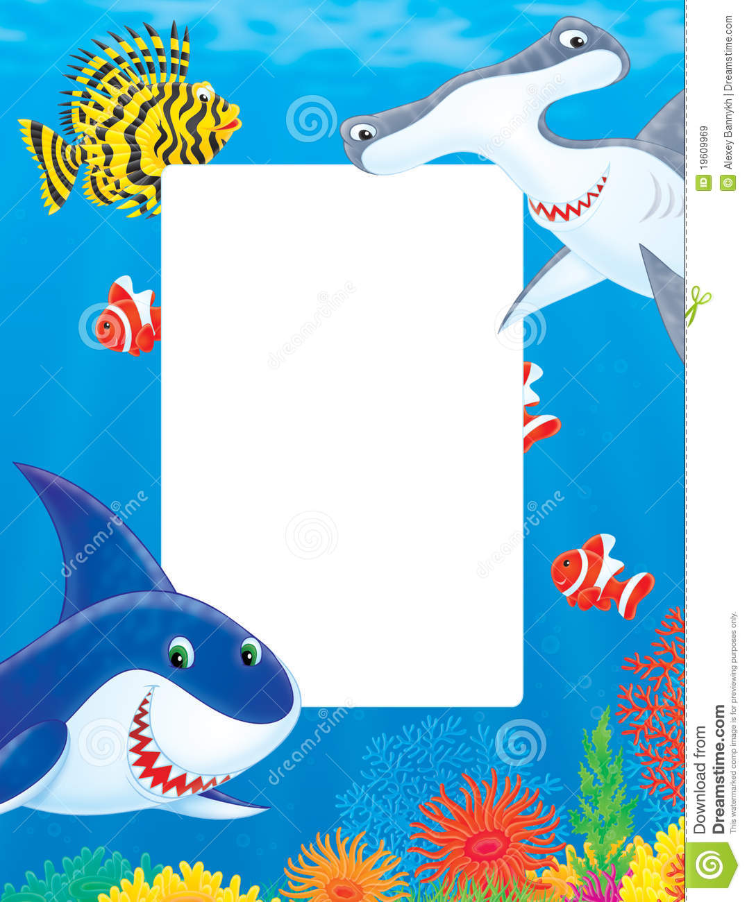 Sea Frame With Sharks And Fishes Stock Illustration
