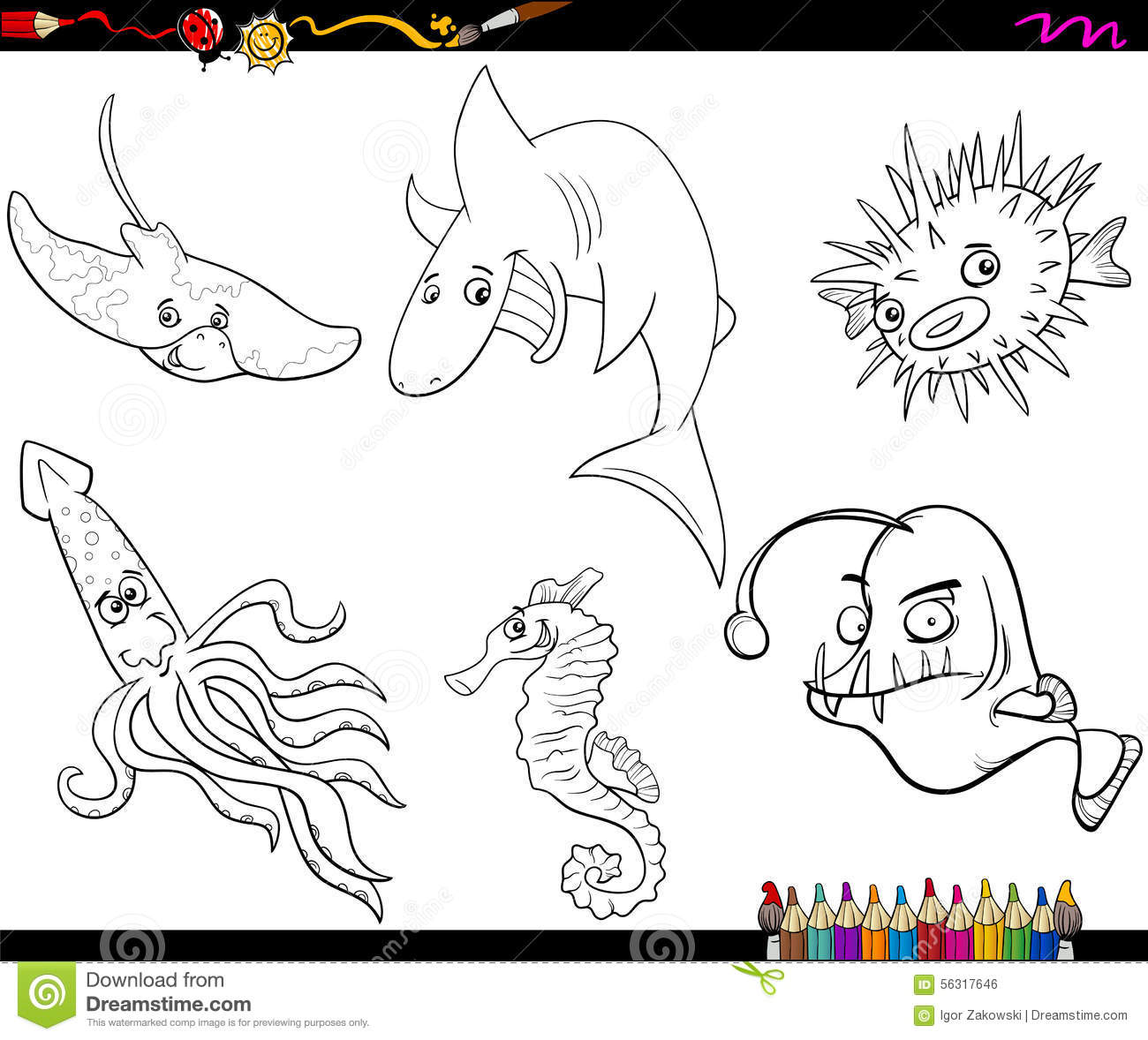 Sea Life Animals Cartoon Coloring Book Cartoon Vector