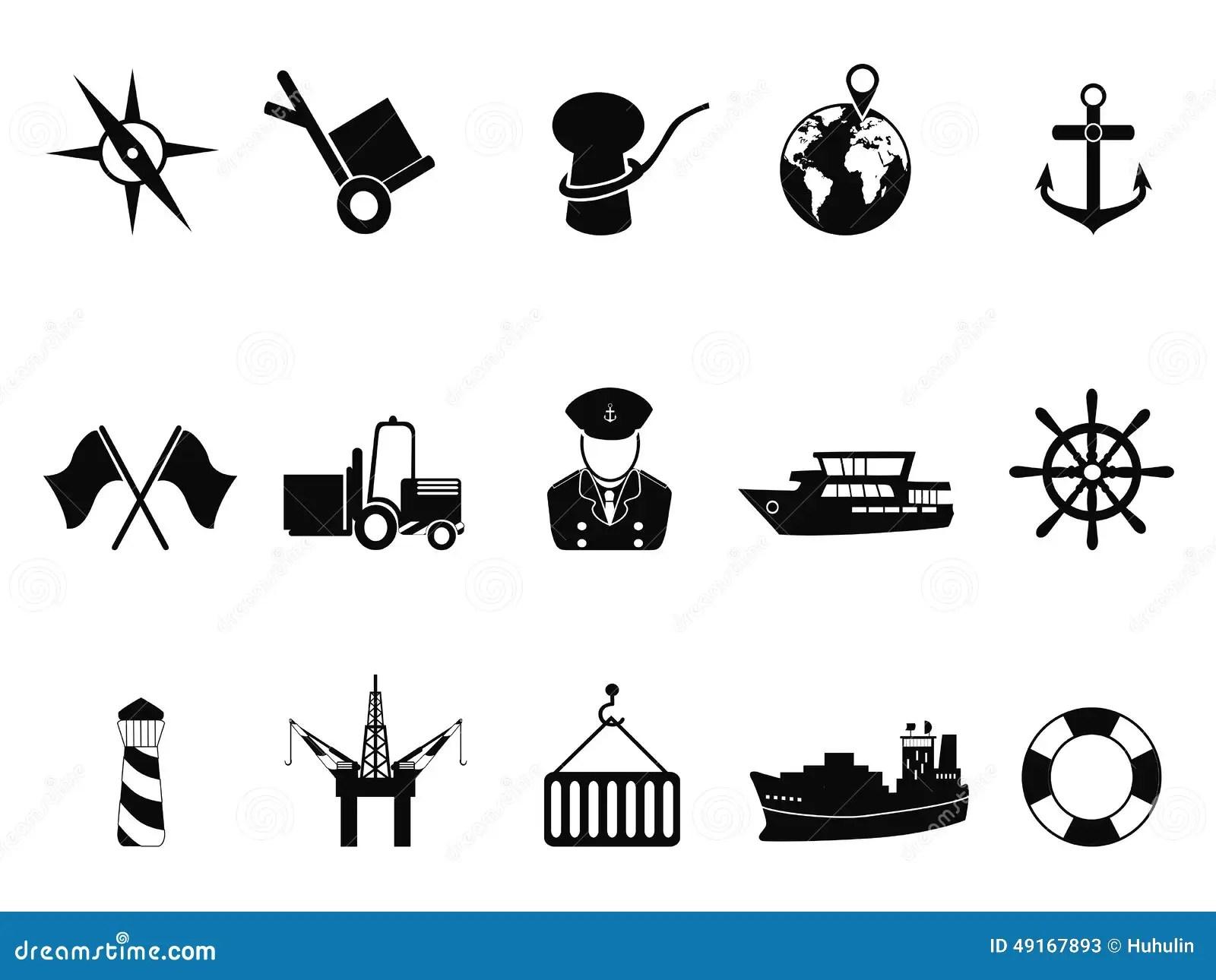 Sea Port Icons Set Stock Vector