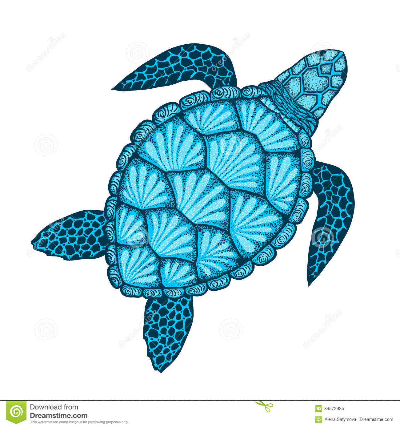 Sea Turtle In Line Art Style Hand Drawn Vector