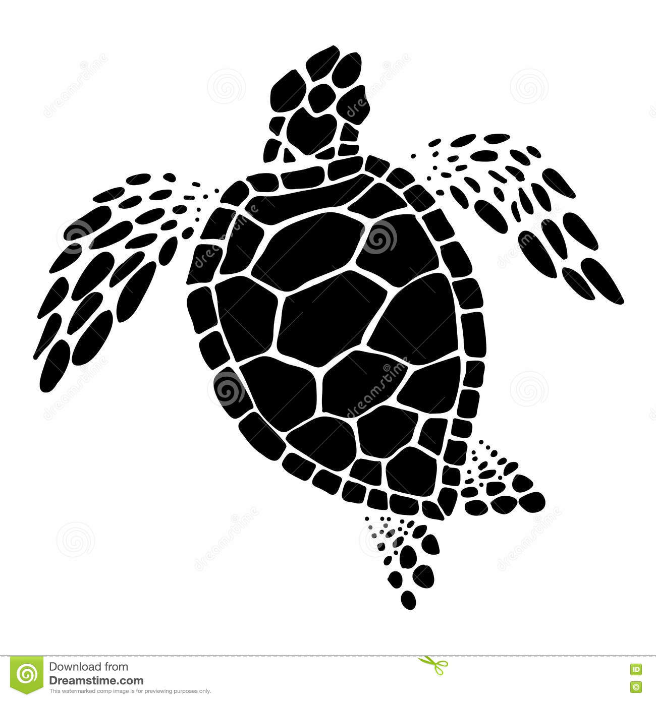 Sea Turtle Vector Stock Vector Illustration Of Drawn