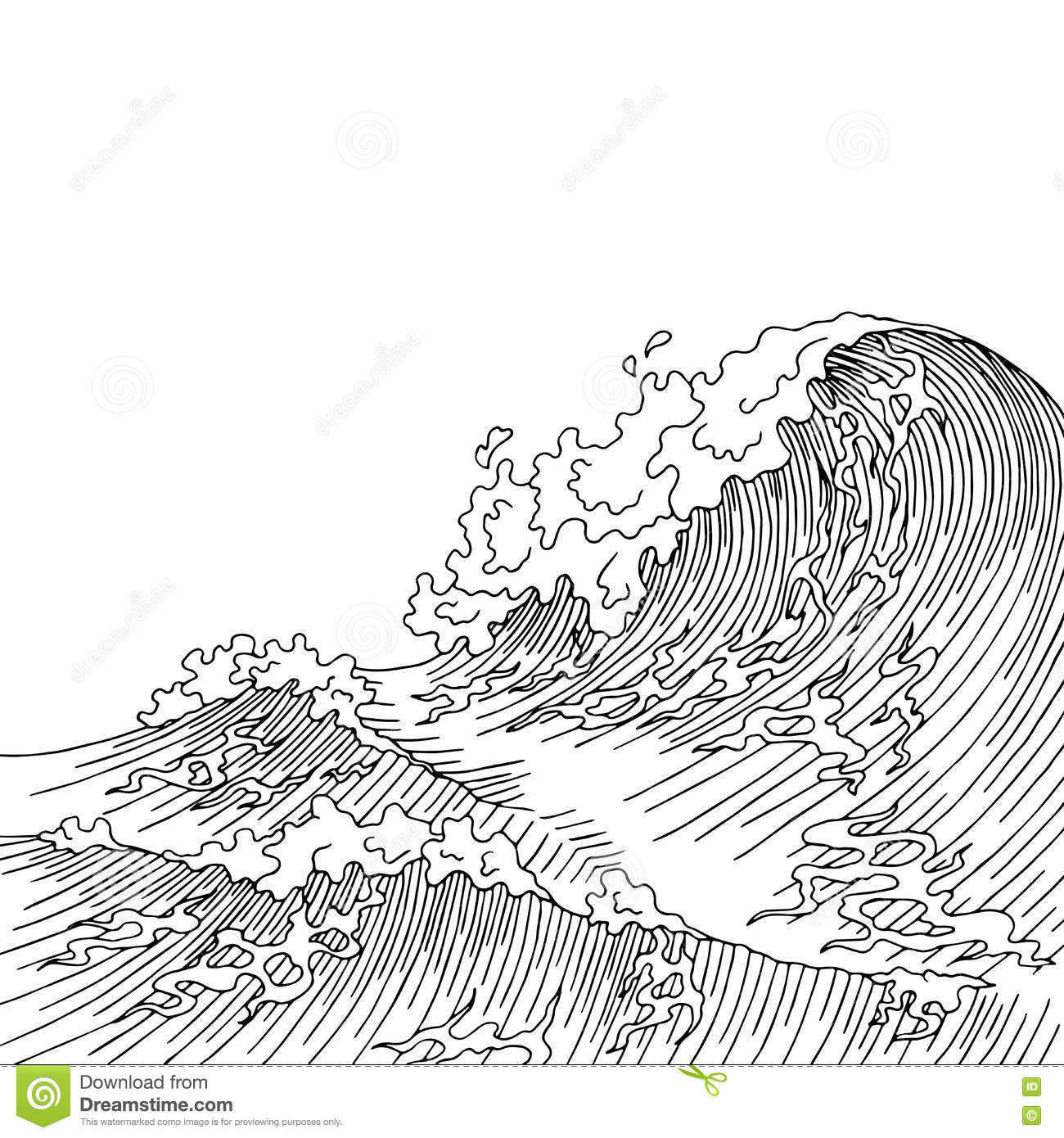 Sea Wave Graphic Art Surf Black White Landscape Sketch