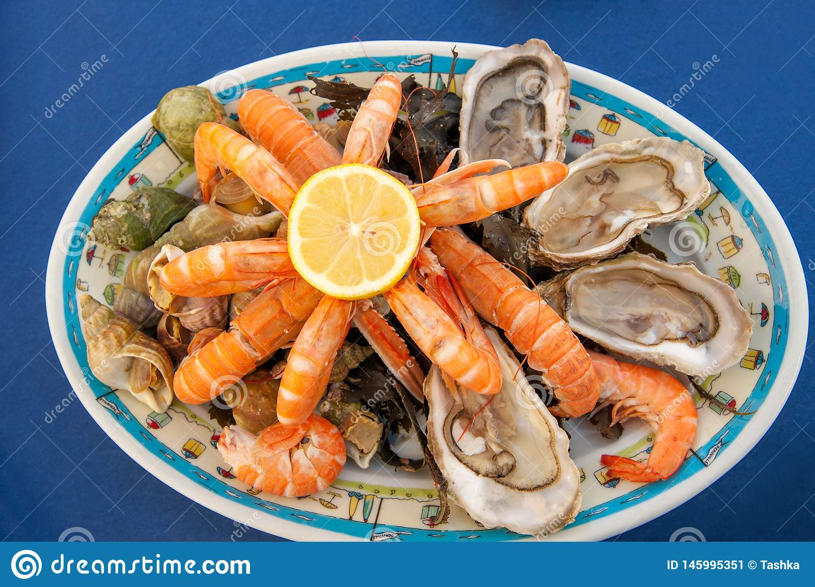 https www dreamstime com seafood plate french seaside restaurant plateau de fruits mer traditional raw cooked shellfish such as oysters prawns image145995351