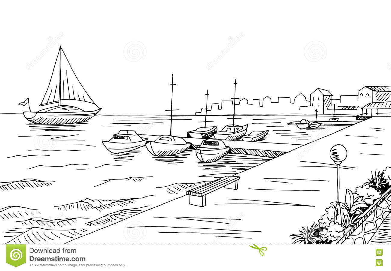 Seafront Pier Graphic Yacht Black White Landscape Sketch