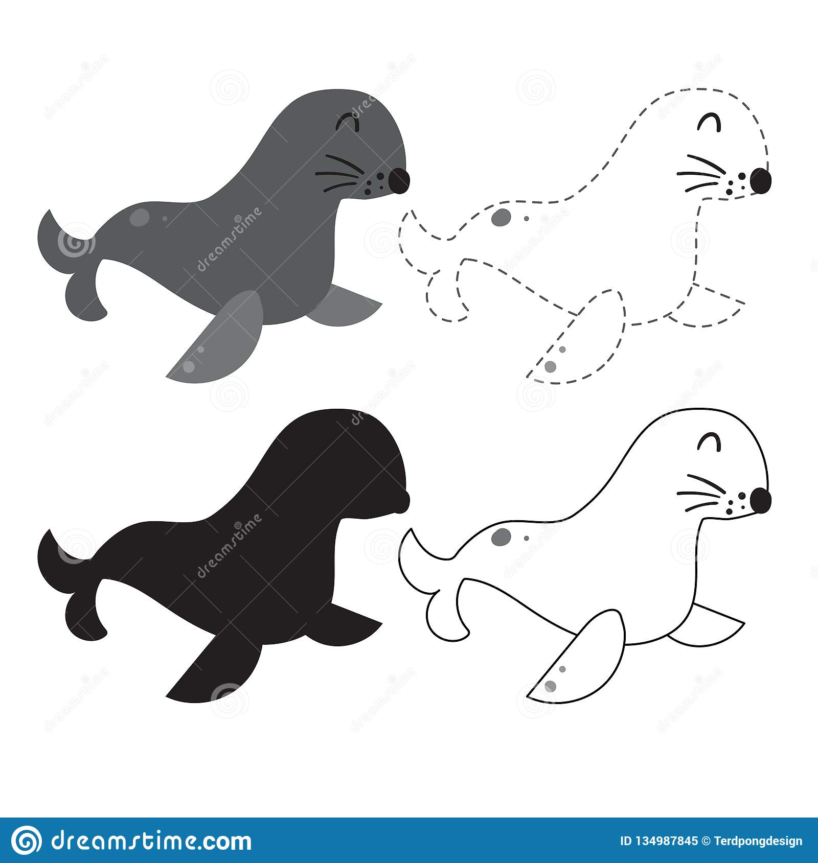 Sealion Worksheet Vector Design Stock Vector