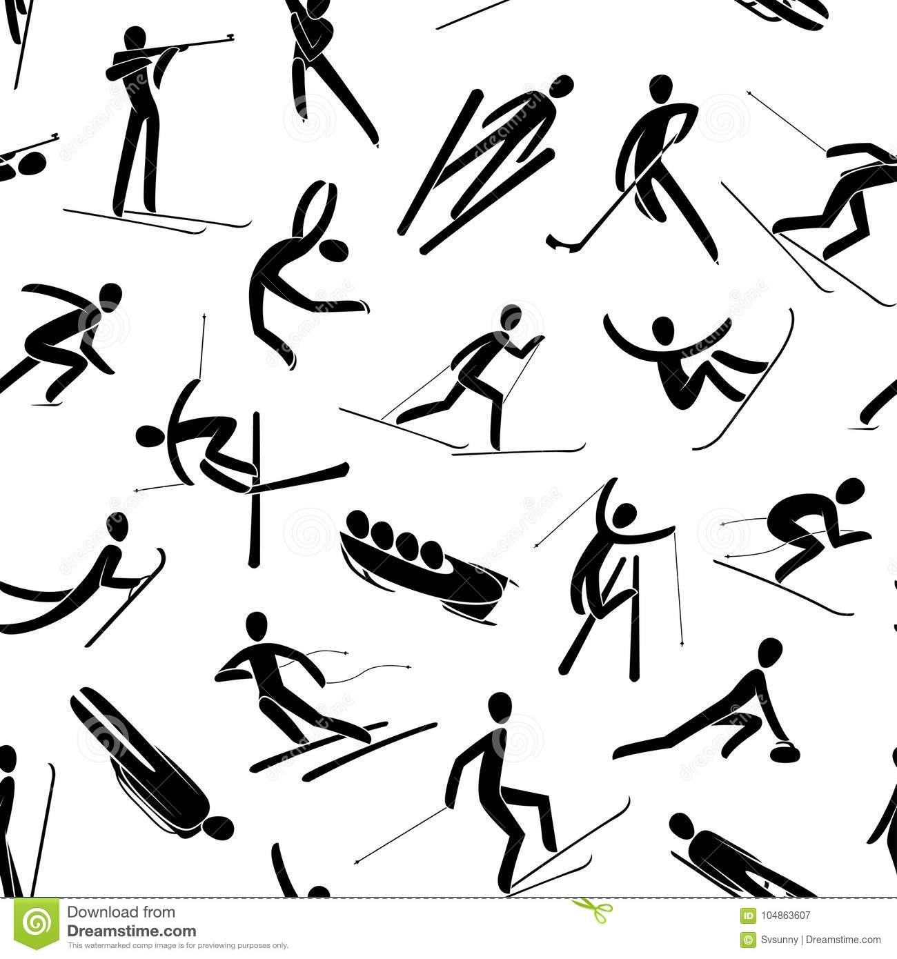 Seamles Abstract Background Pattern Winter Sport Games