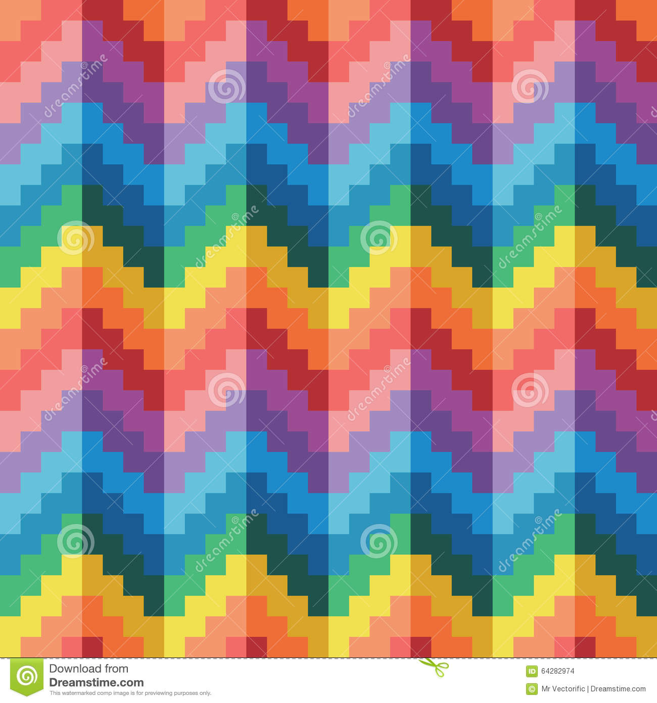 Seamless Abstract Geomatric Pixel Rainbow Zigzag Vector Pattern Stock Vector Illustration Of Cover Artwork 64282974