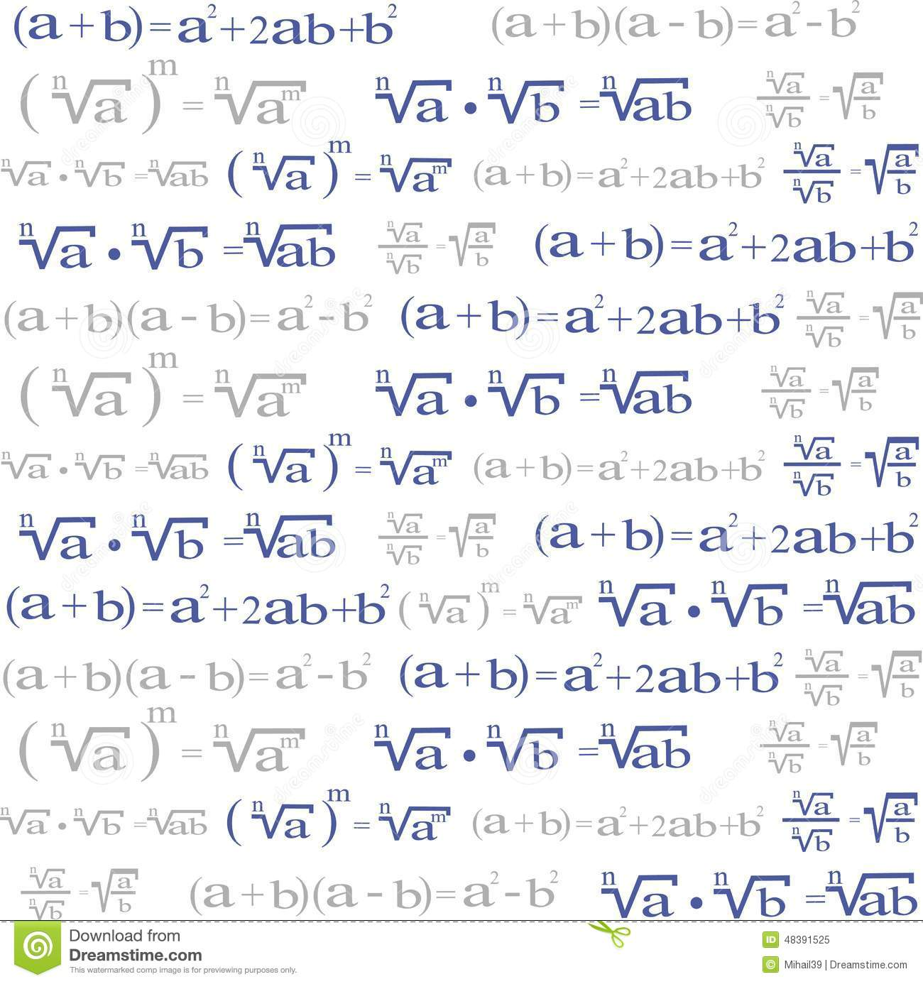 Seamless With Algebra Symbols For Background Stock Vector