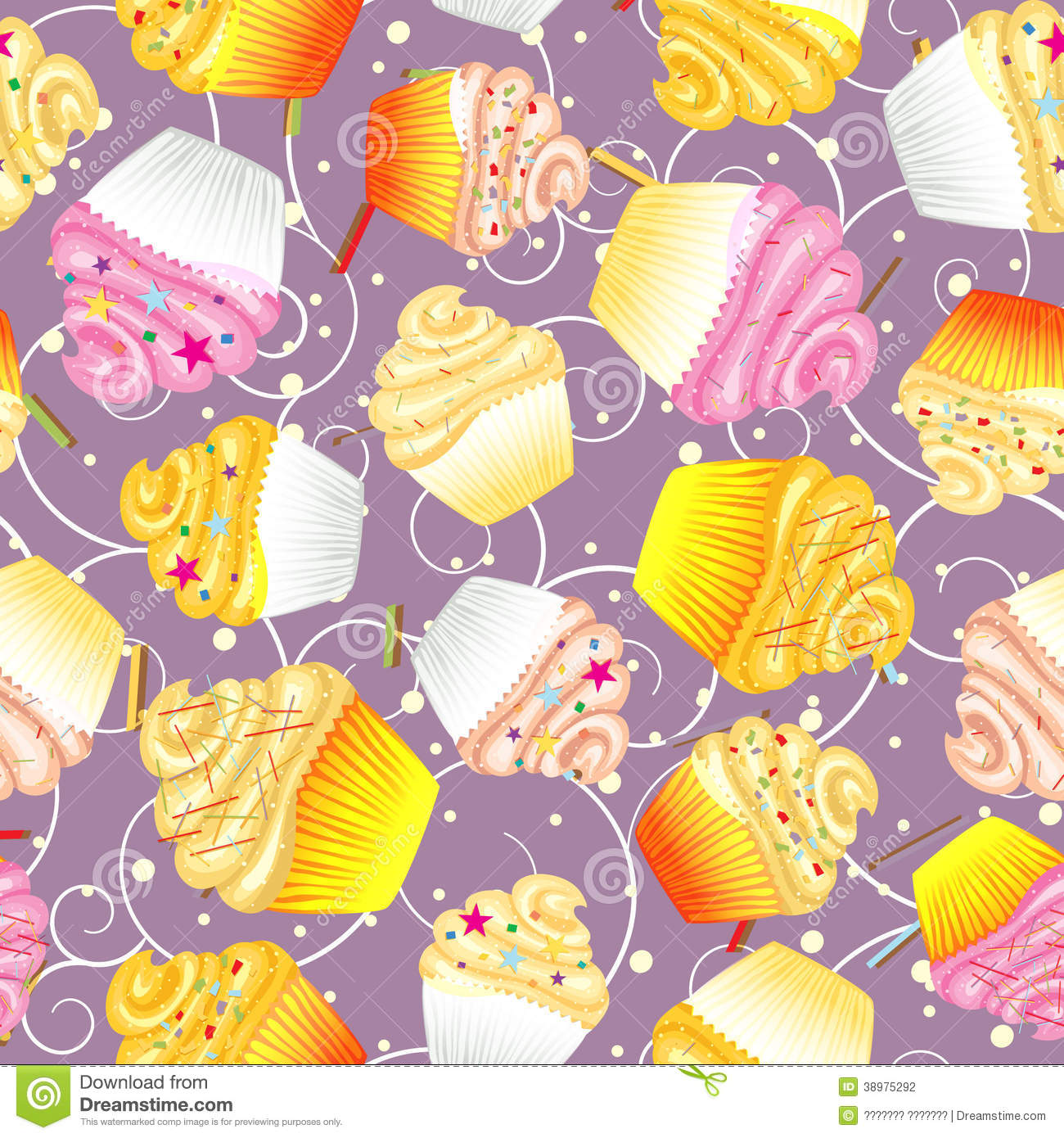 Seamless Background Of Cupcakes With Cream Stock Vector