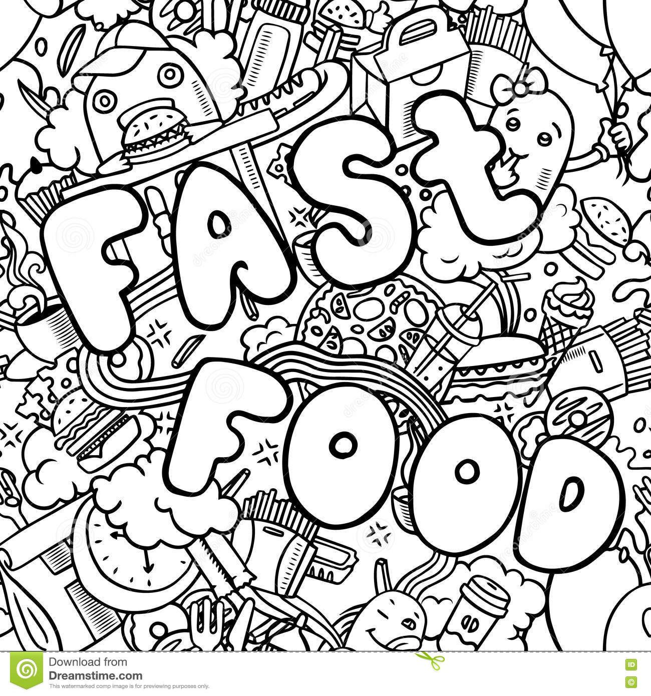 Background With Fast Food Symbols Menu Pattern Royalty