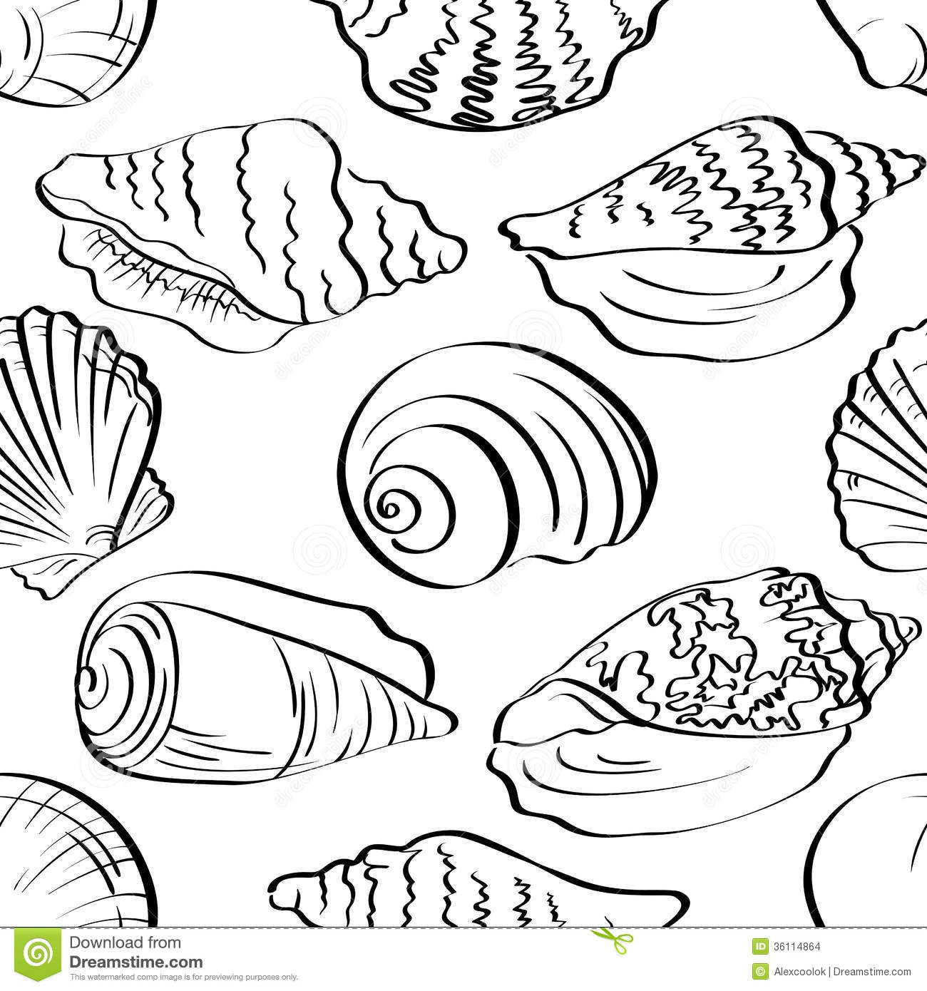 Seamless Background Outline Seashells Stock Vector