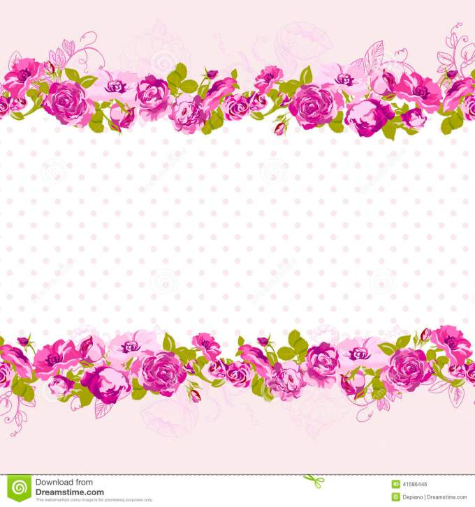 Birthday invitation card border design dulahotw seamless border of blossom roses stock vector image 41586446 m4hsunfo
