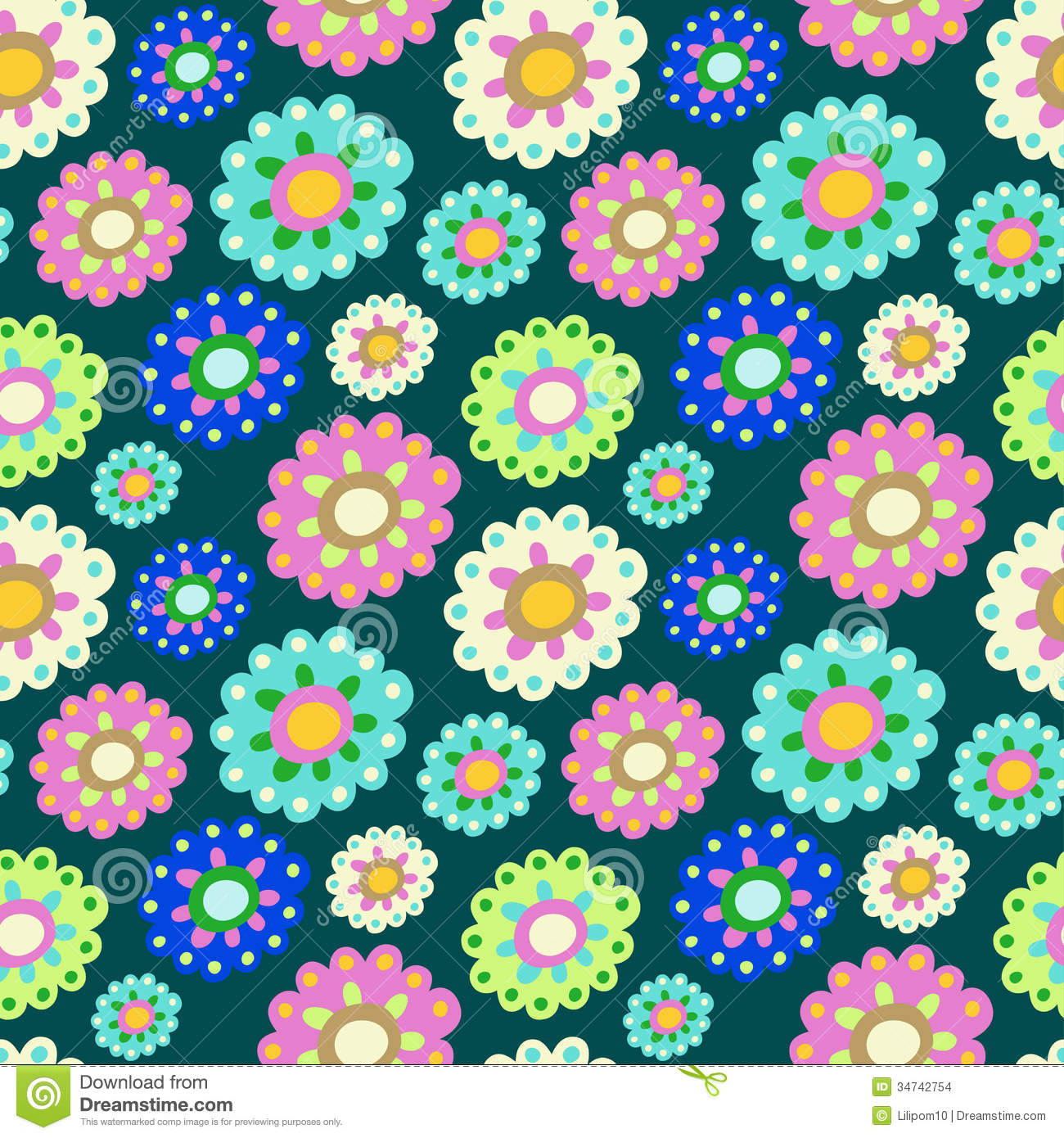 seamless color pattern with plenty of flowers for textiles interior