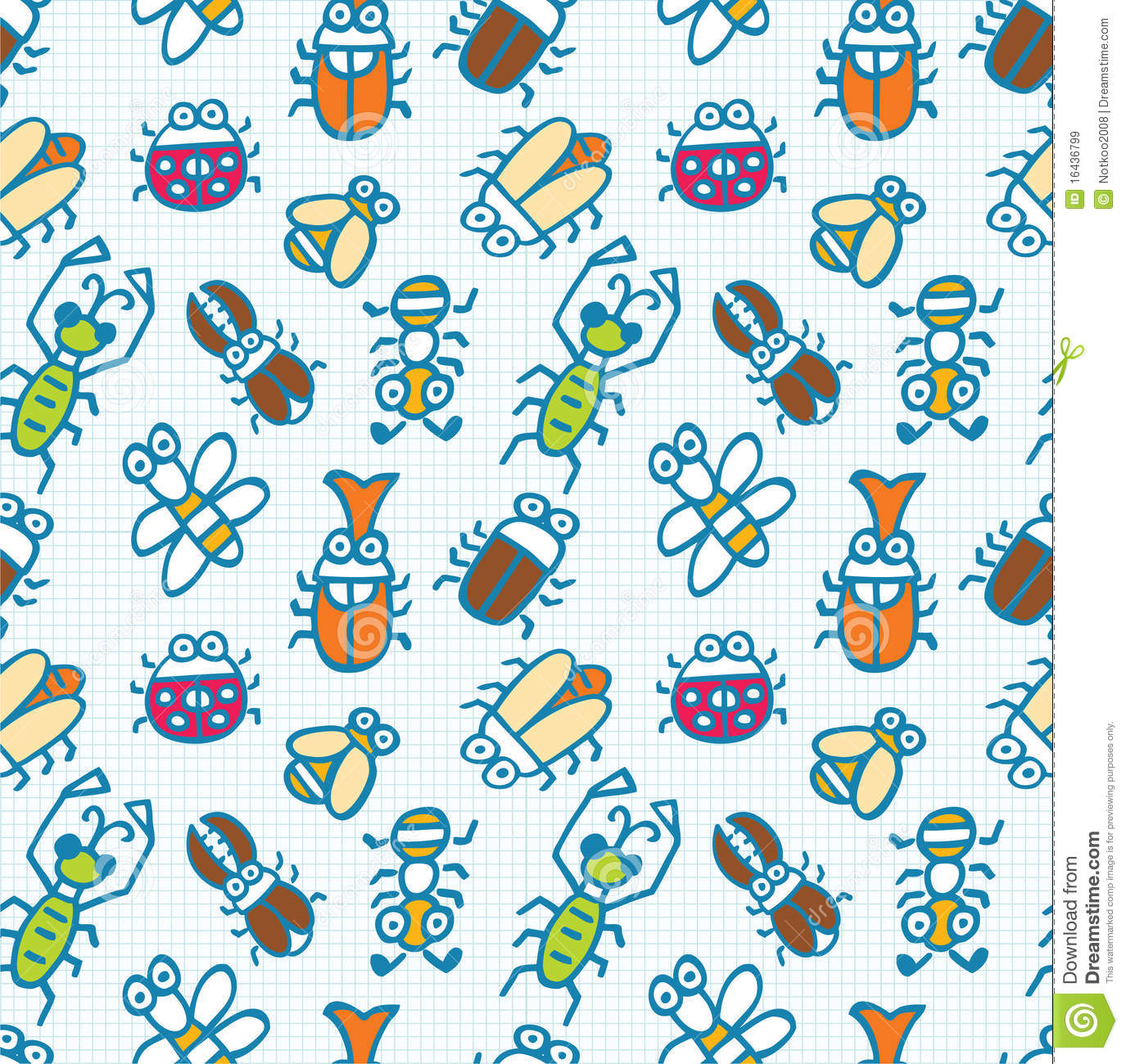 Seamless Cute Bug Pattern Stock Vector Image Of Colorful