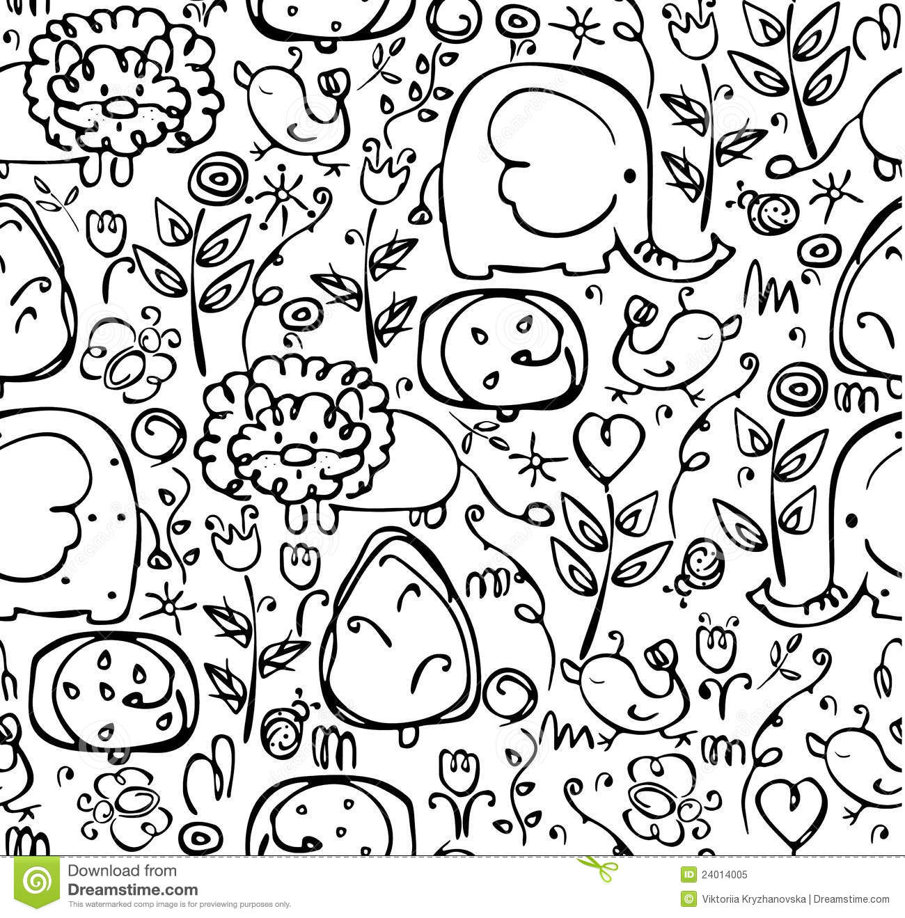 Seamless Cute Pattern Of Flora And Fauna Stock