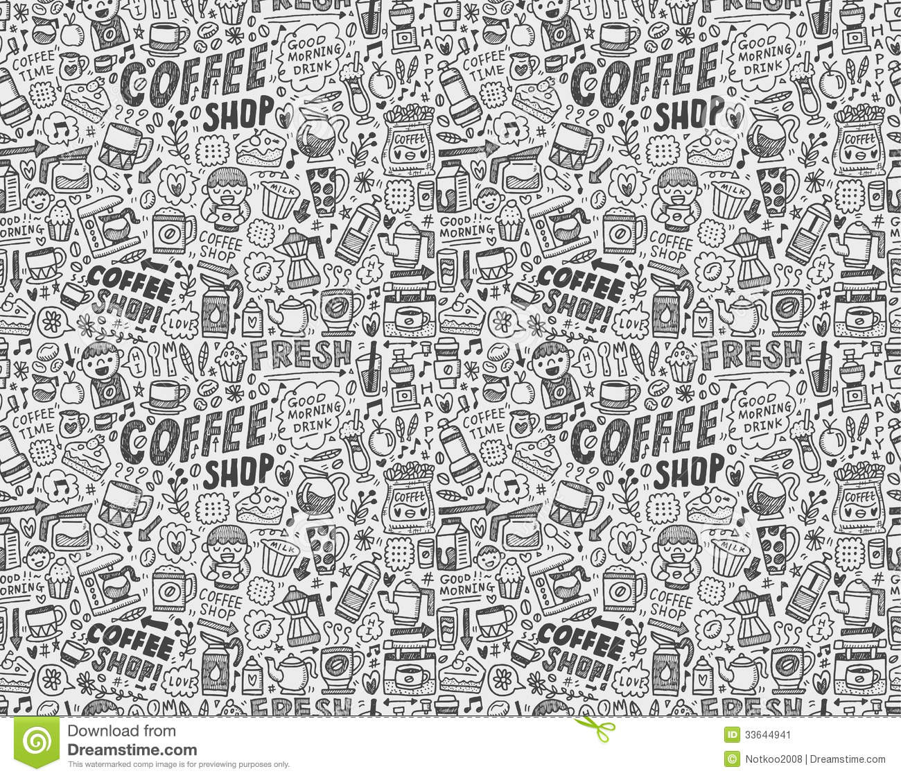 Seamless Doodle Coffee Pattern Background Stock