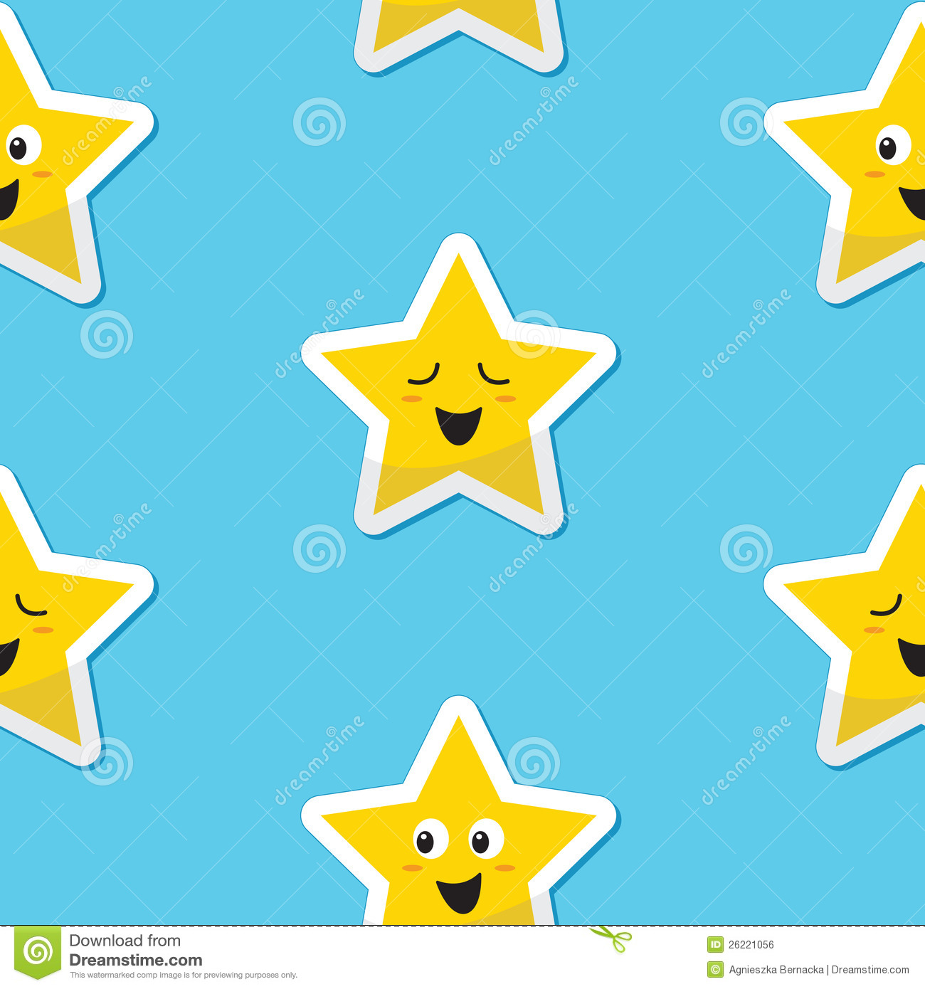 Seamless Happy Stars Background For Kids Royalty Free