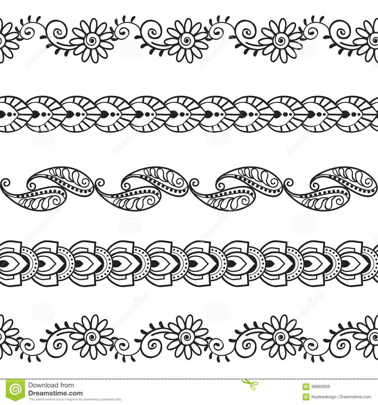 Seamless Henna Borders Vector Set Abstract Floral Patterns