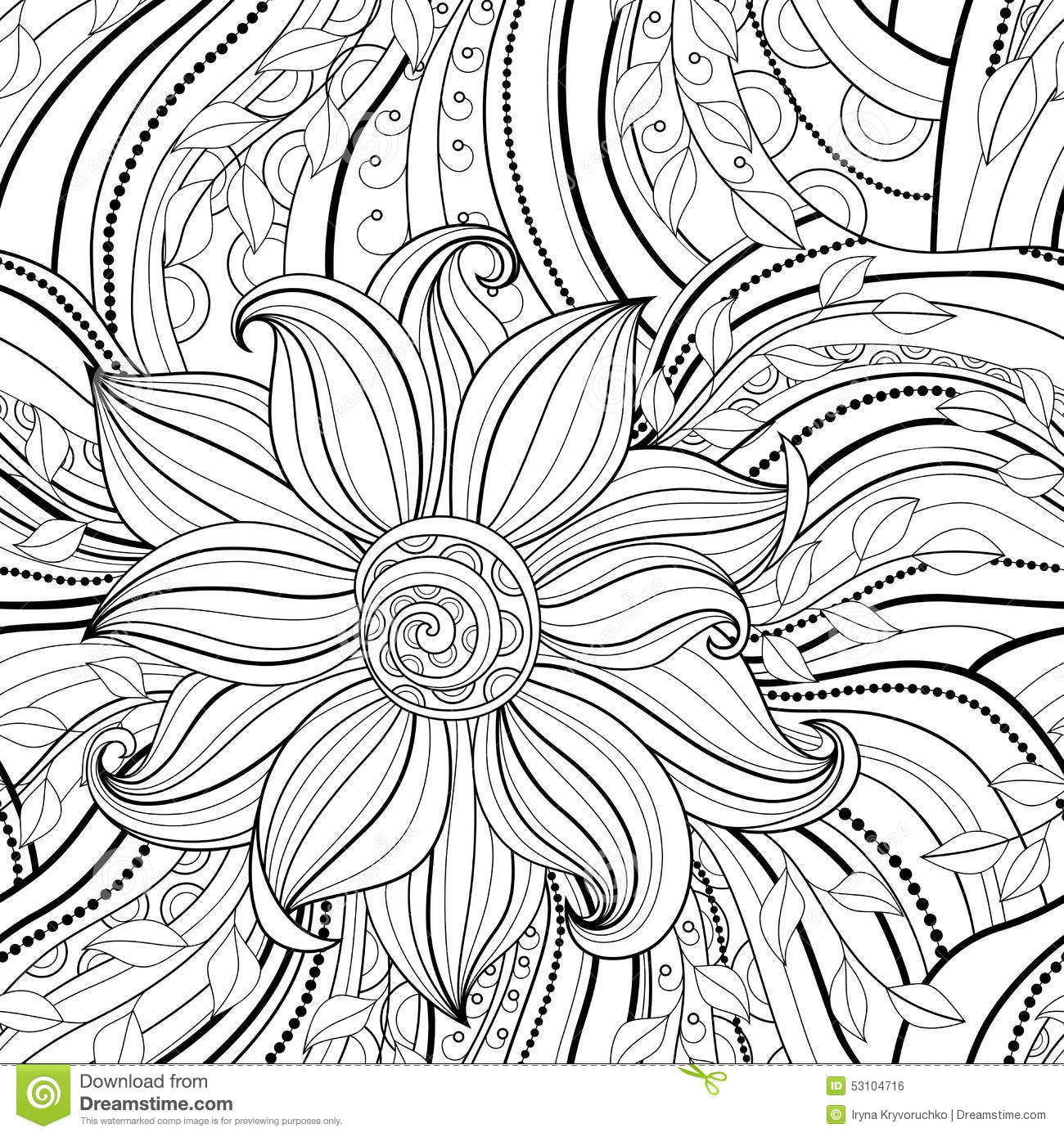 Seamless Monochrome Floral Pattern Stock Vector Image