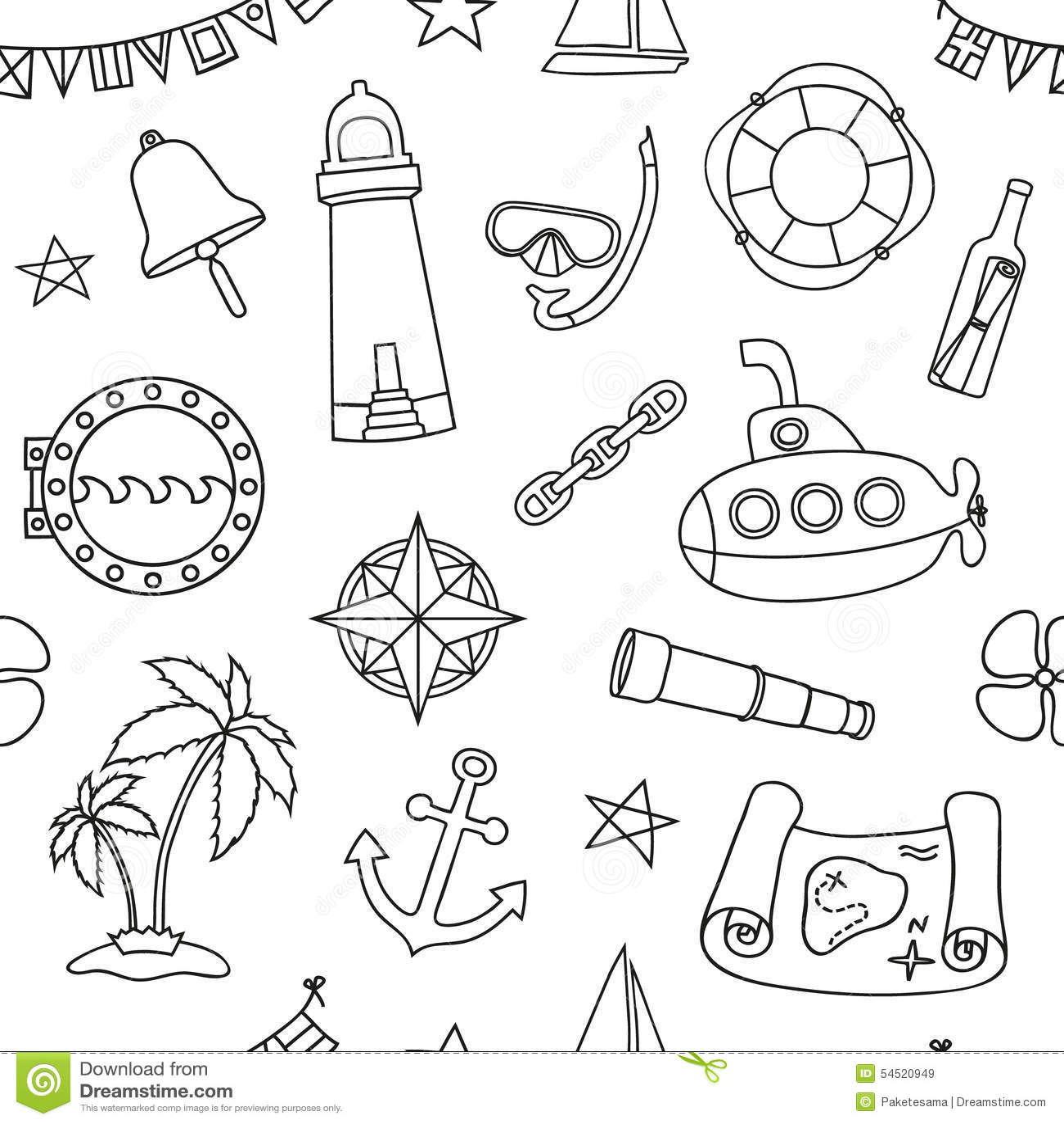 Seamless Nautical Pattern Stock Vector Illustration Of