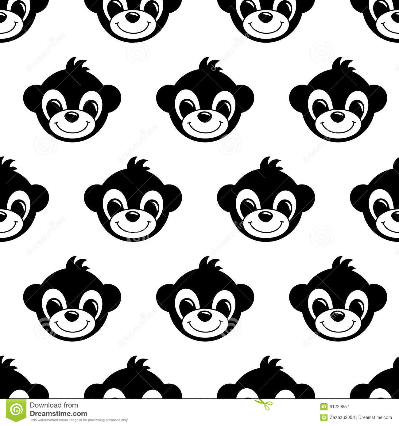 Seamless Pattern Background With Monkeys Symbol Of