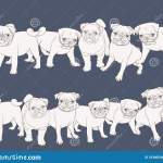 Seamless Pattern Background With Pug Dogs Stock Vector Illustration Of Blue Cool 163665442