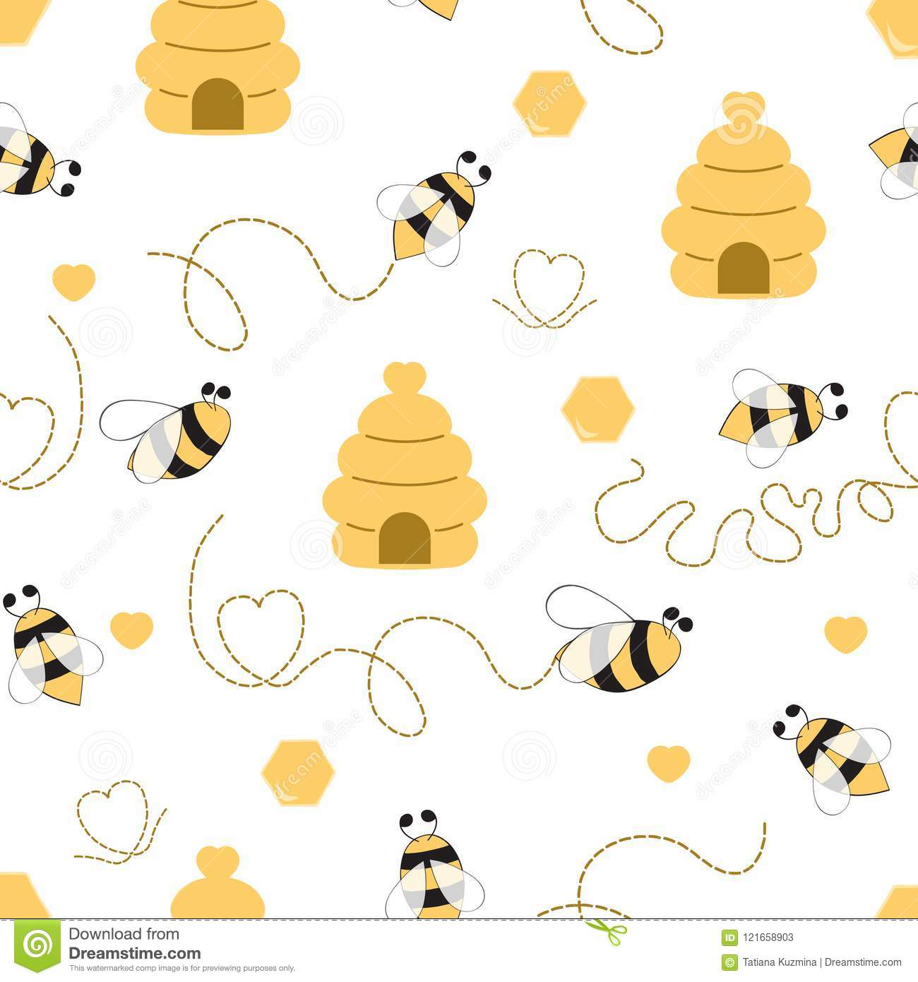 Seamless Pattern With Bee Honey Bee Hive In Vector Cartoon