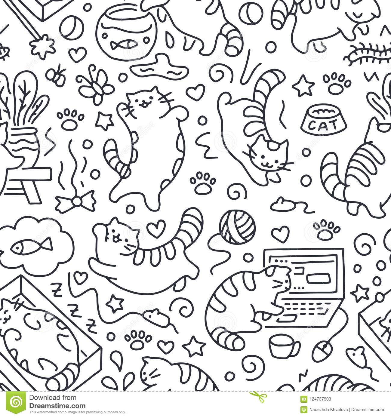 Seamless Pattern With Cute Cats Line Drawing Playful