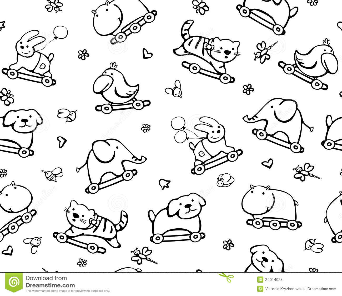 Seamless Pattern Of Funny Animals For Baby Design Stock