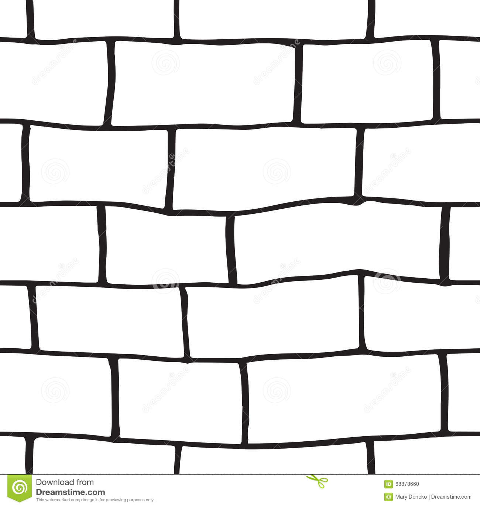 Seamless Pattern With Hand Drawn Sketch Bricks Stock