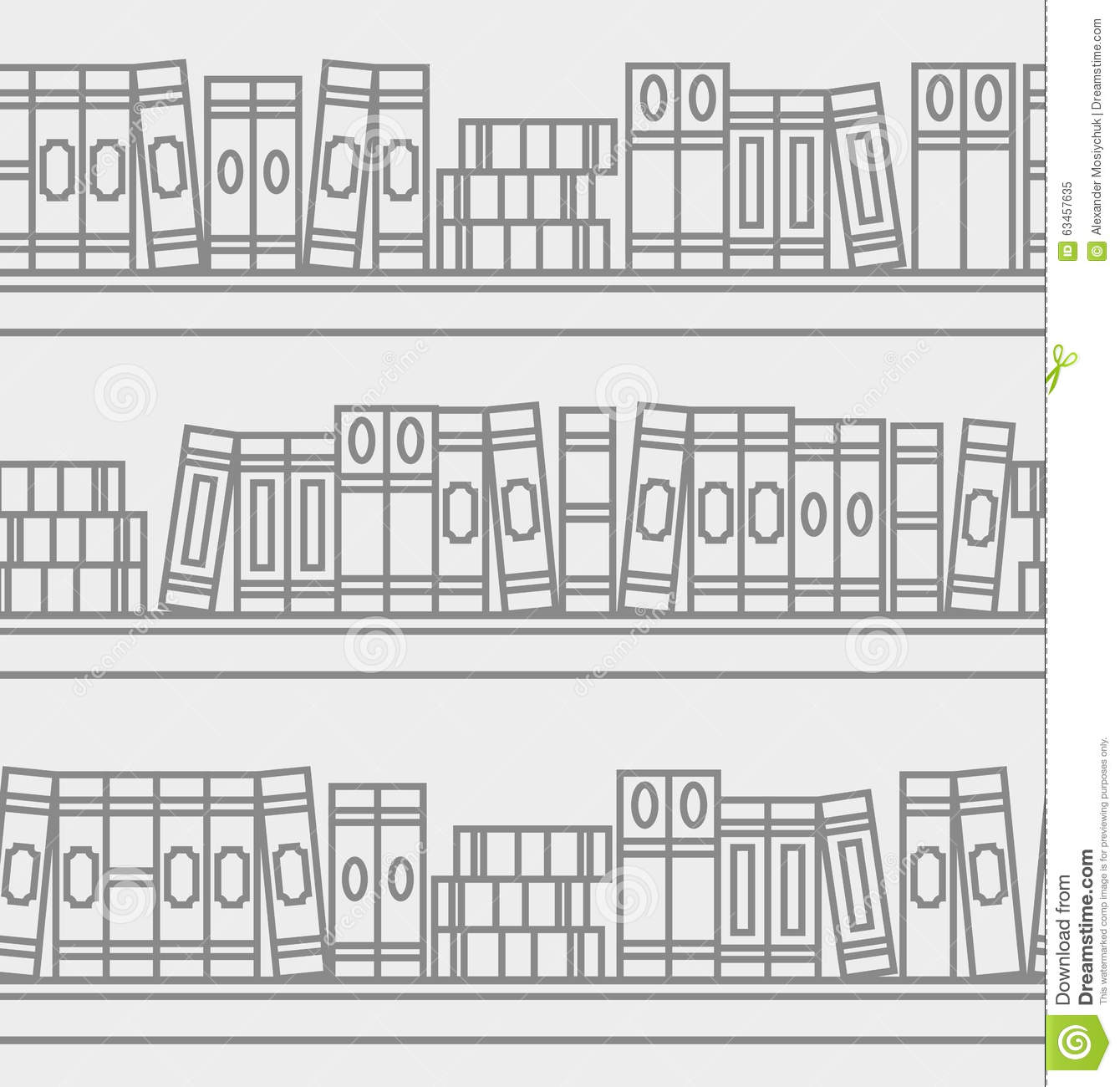 Seamless Pattern With Linear Books On A Bookshelf Stock
