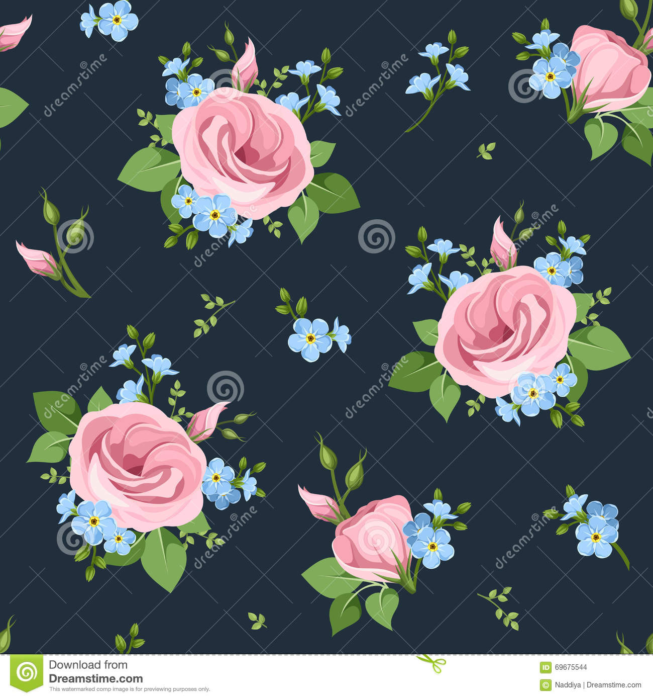 Forget Me Not Flower Fabric