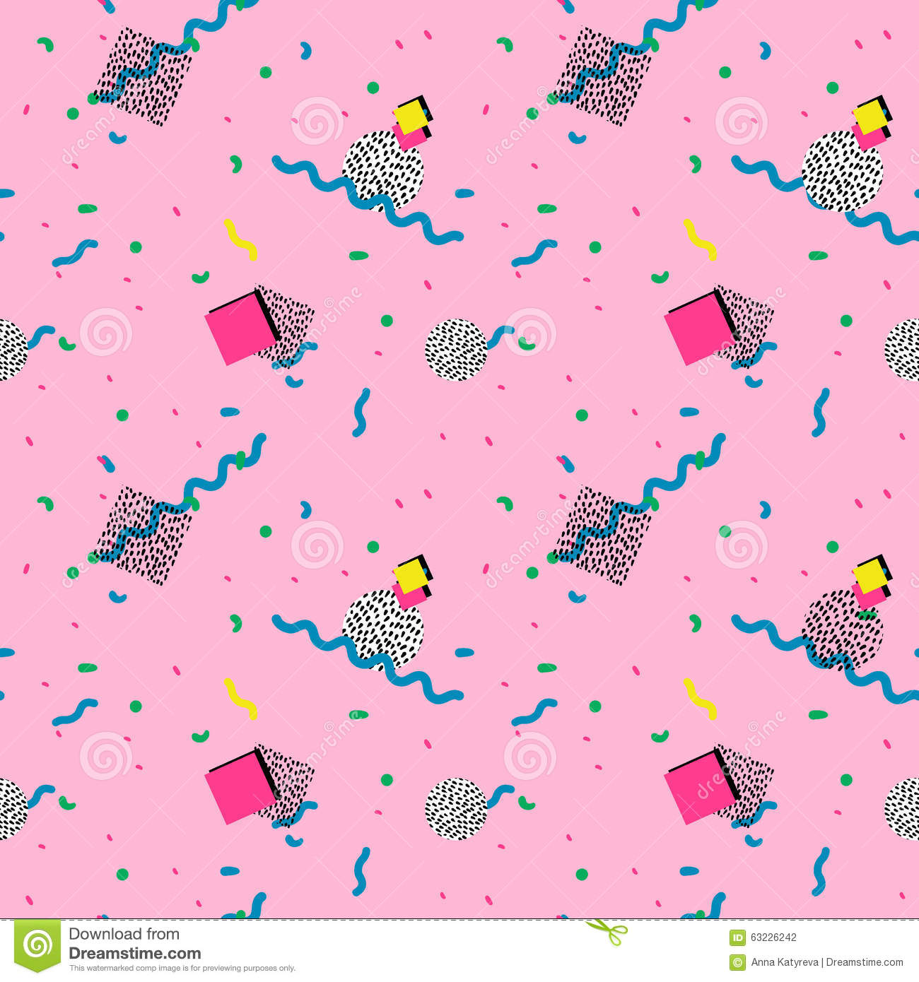 Seamless Pattern In Memphis Style Stock Illustration