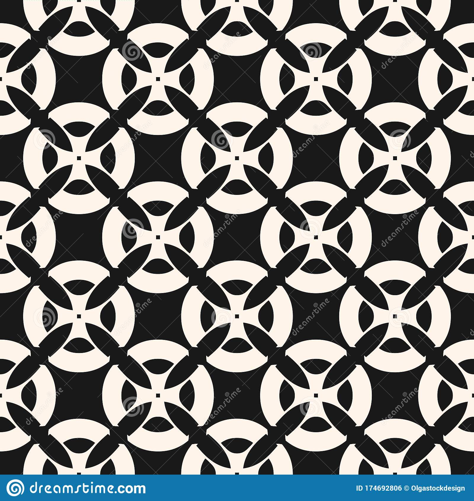 https www dreamstime com seamless pattern mosaic tiles black white geometric floral ornament vector monochrome abstract background texture flower image174692806