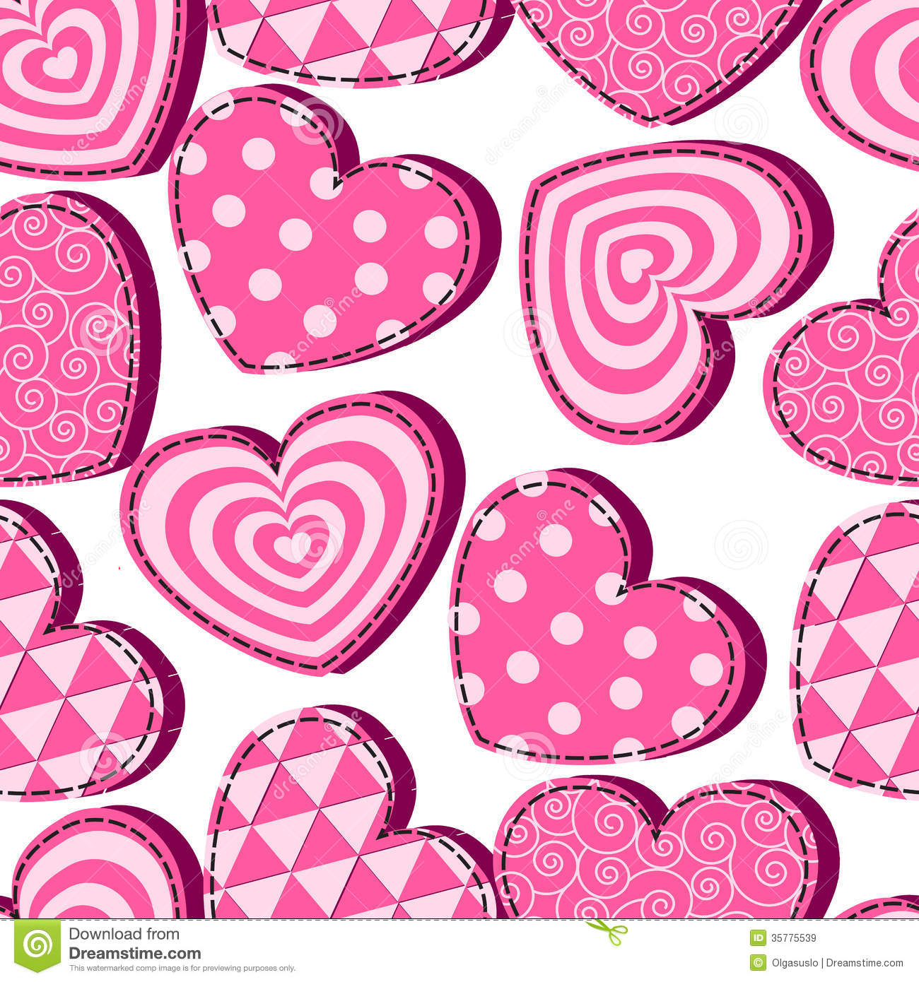 Seamless Pattern With Pink Hearts Valentine S Day Stock