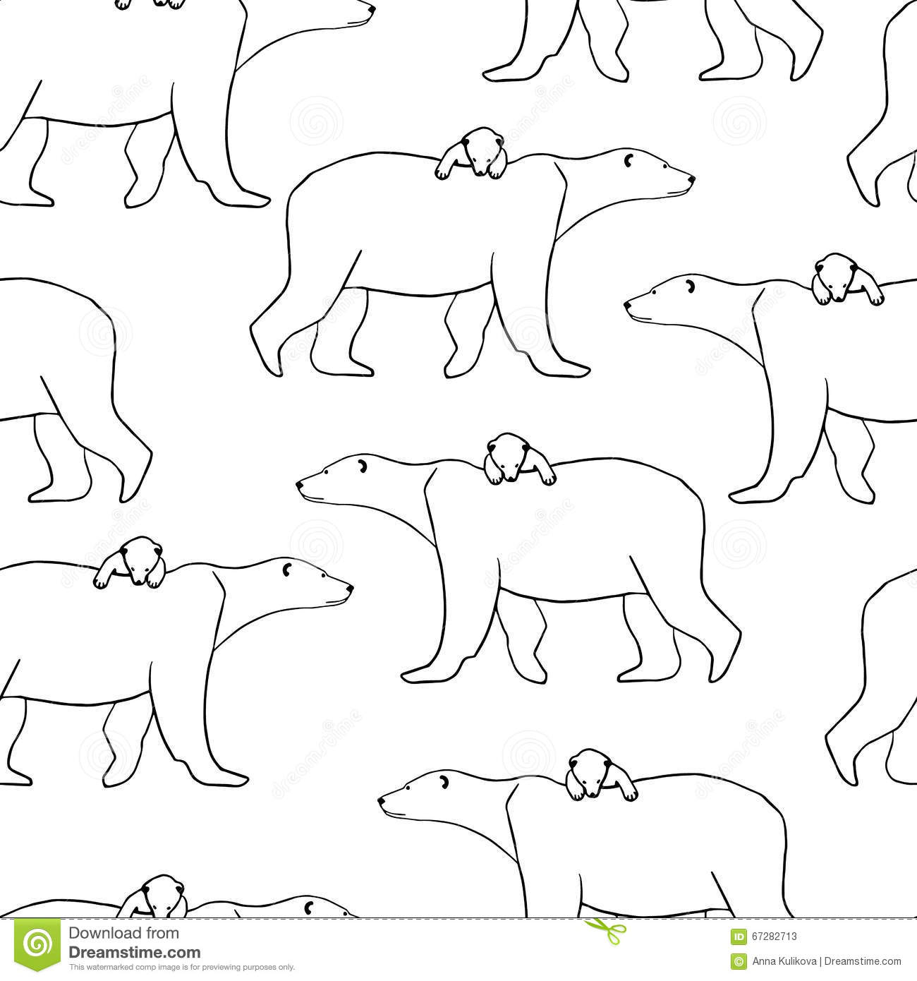 Seamless Pattern With Polar Bear And Cub Vector