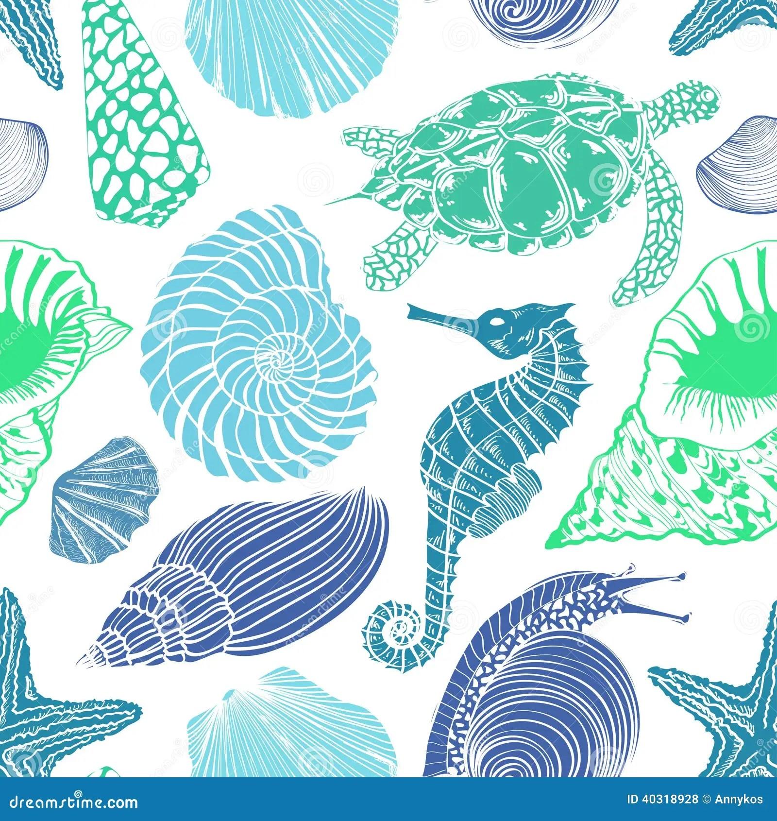 Seamless Pattern Of Sea Animals Stock Vector