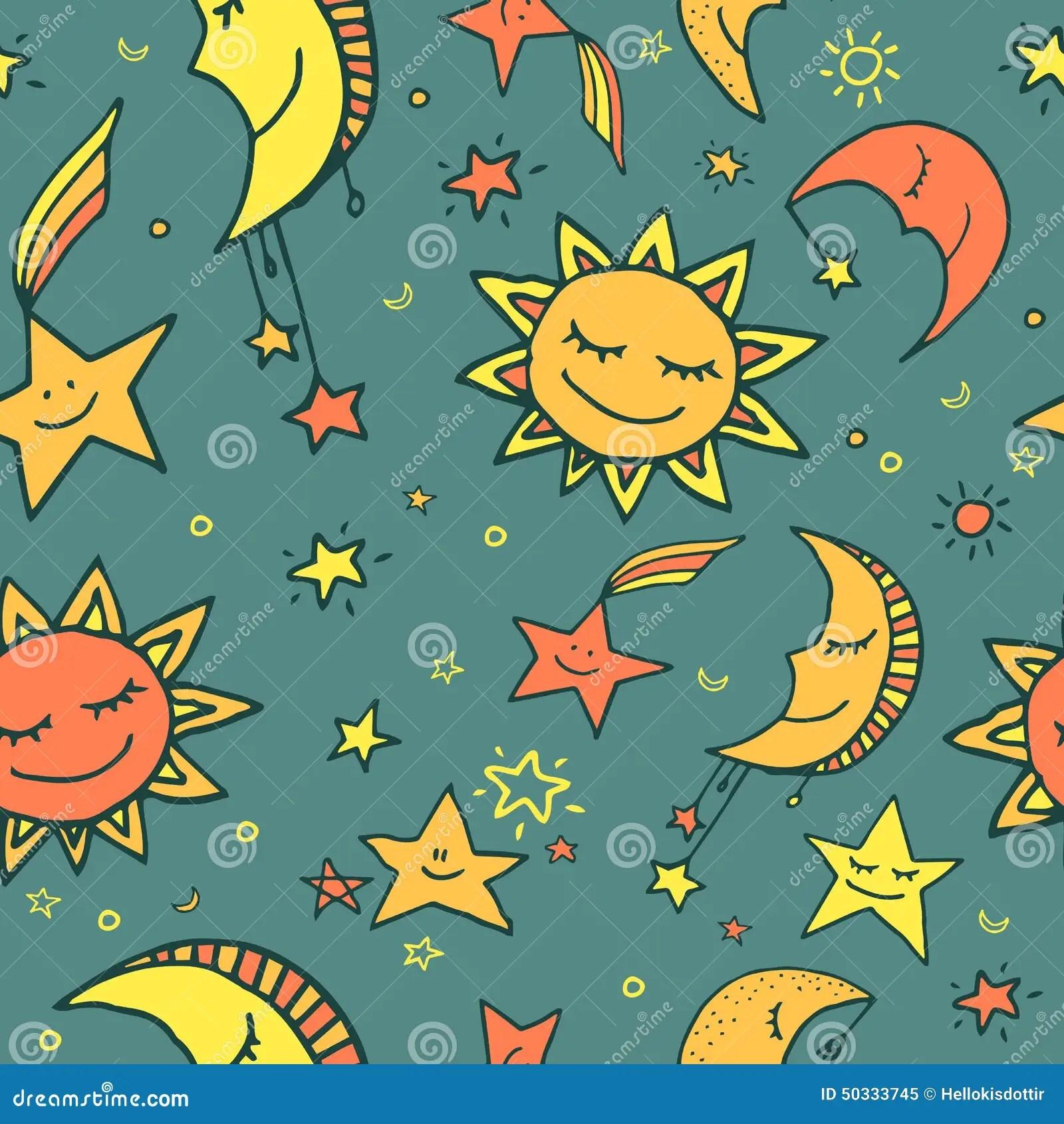 Seamless Pattern Of Sun Moon And Stars Stock Vector