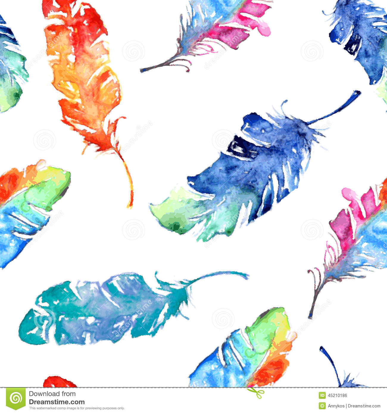 Seamless Pattern With Watercolor Feathers Stock Vector