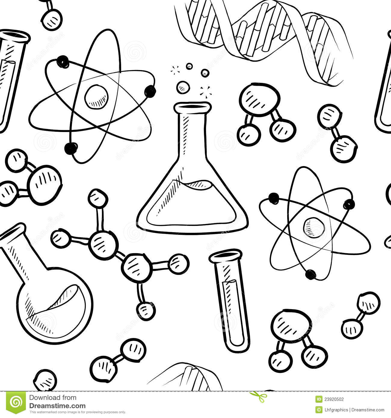 doodle style seamless science or laborator background illustration in