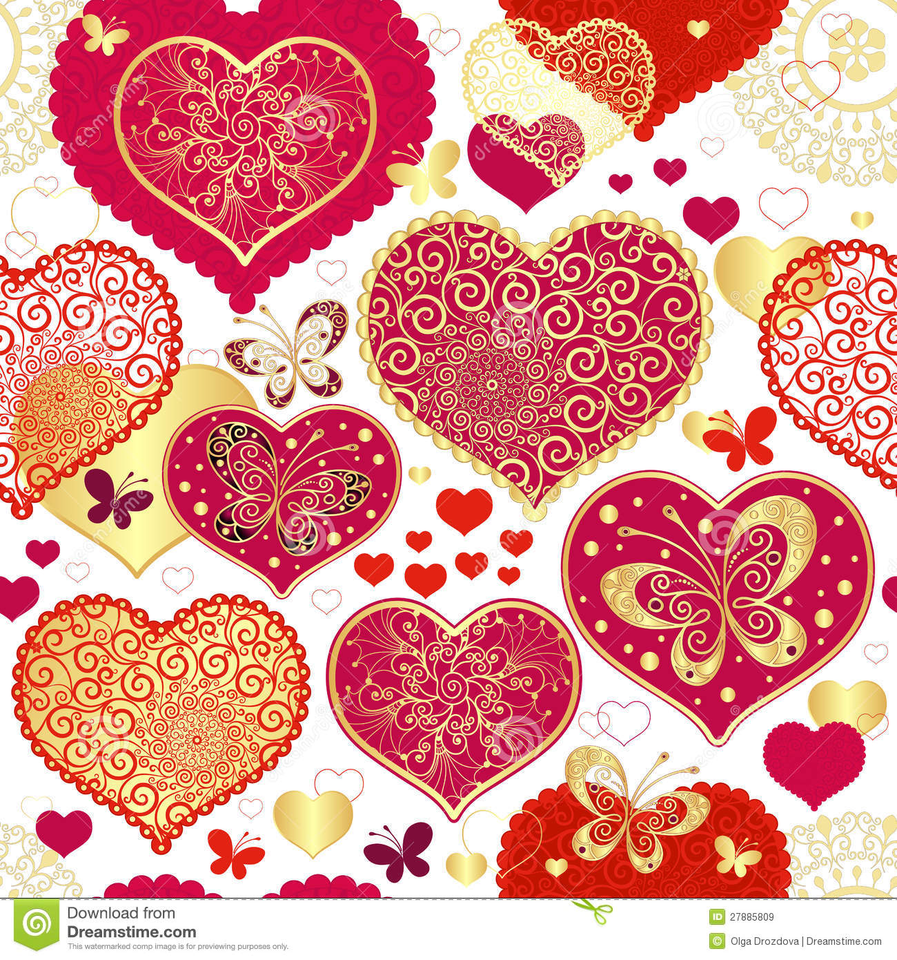 Seamless Valentine Pattern Stock Vector Image Of Lacy