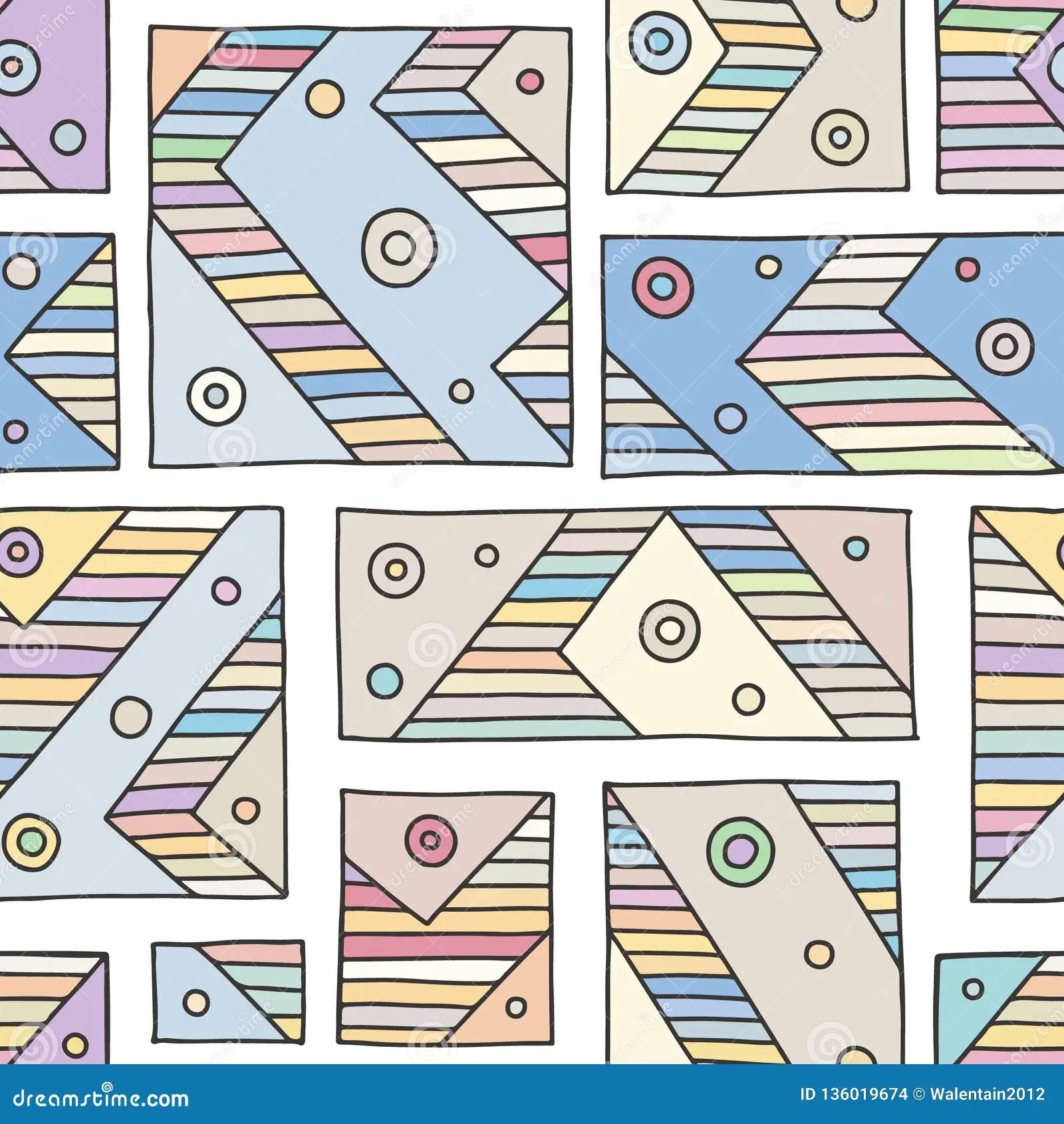 Seamless Vector Pattern Blue Geometrical Hand Drawn