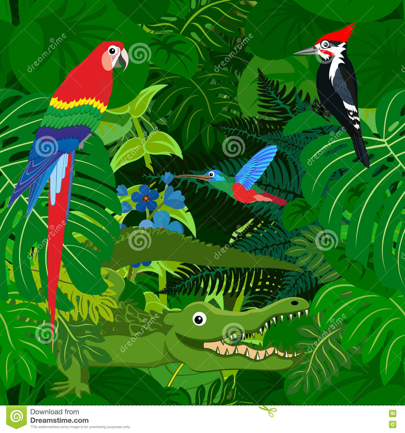 Seamless Vector Tropical Rainforest Jungle Background With